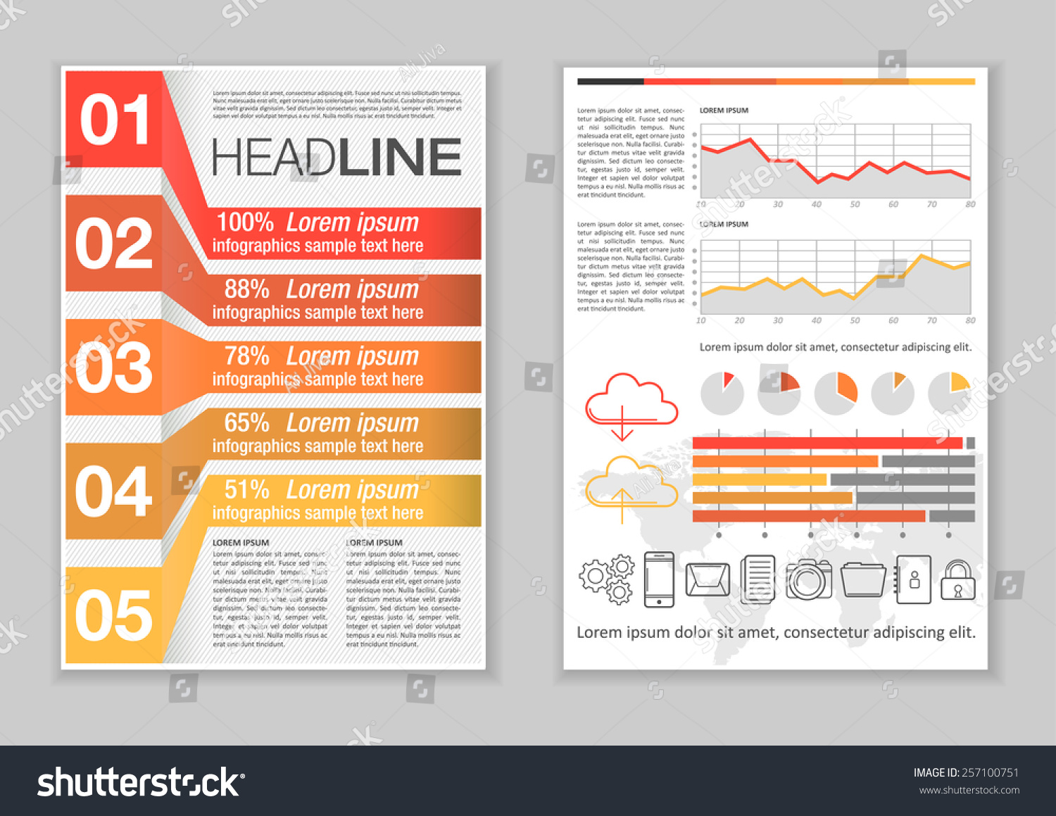 Brochure template design infographic elements charts stock for Infographic brochure template