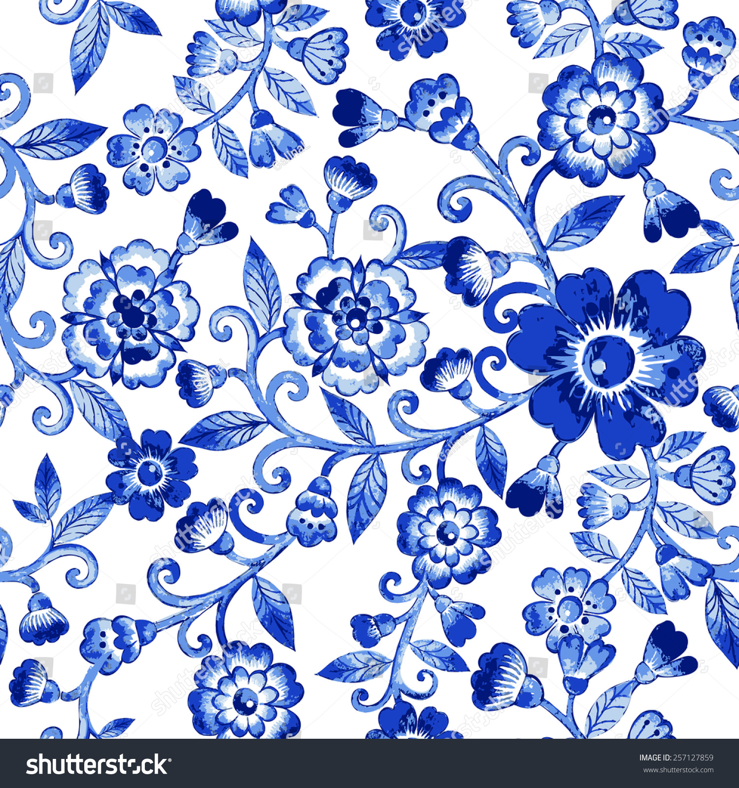 Vector Floral Watercolor Texture Pattern With Blue FlowersWatercolor PatternBlue Flowers PatternSeamless Can Be Used For Wallpaper