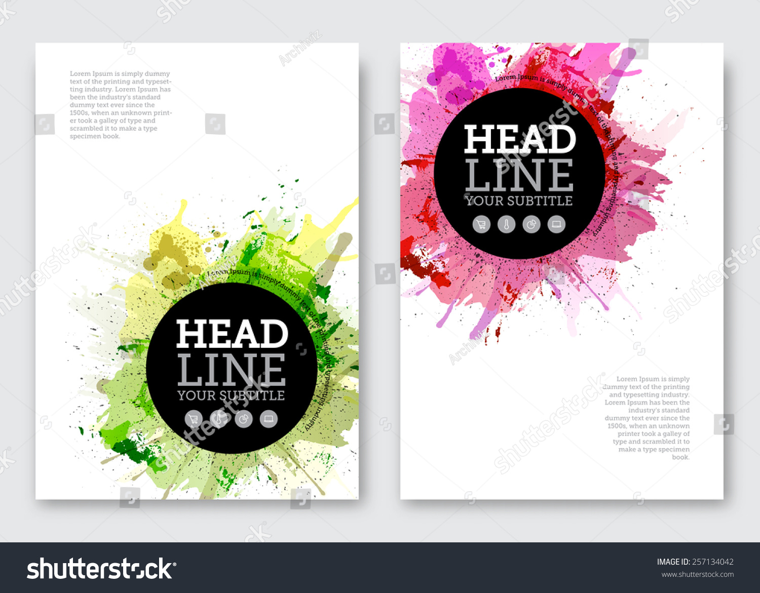 Poster design business - Vector Poster Design Template Business Abstract Background With Paint Blots Flyer Brochure