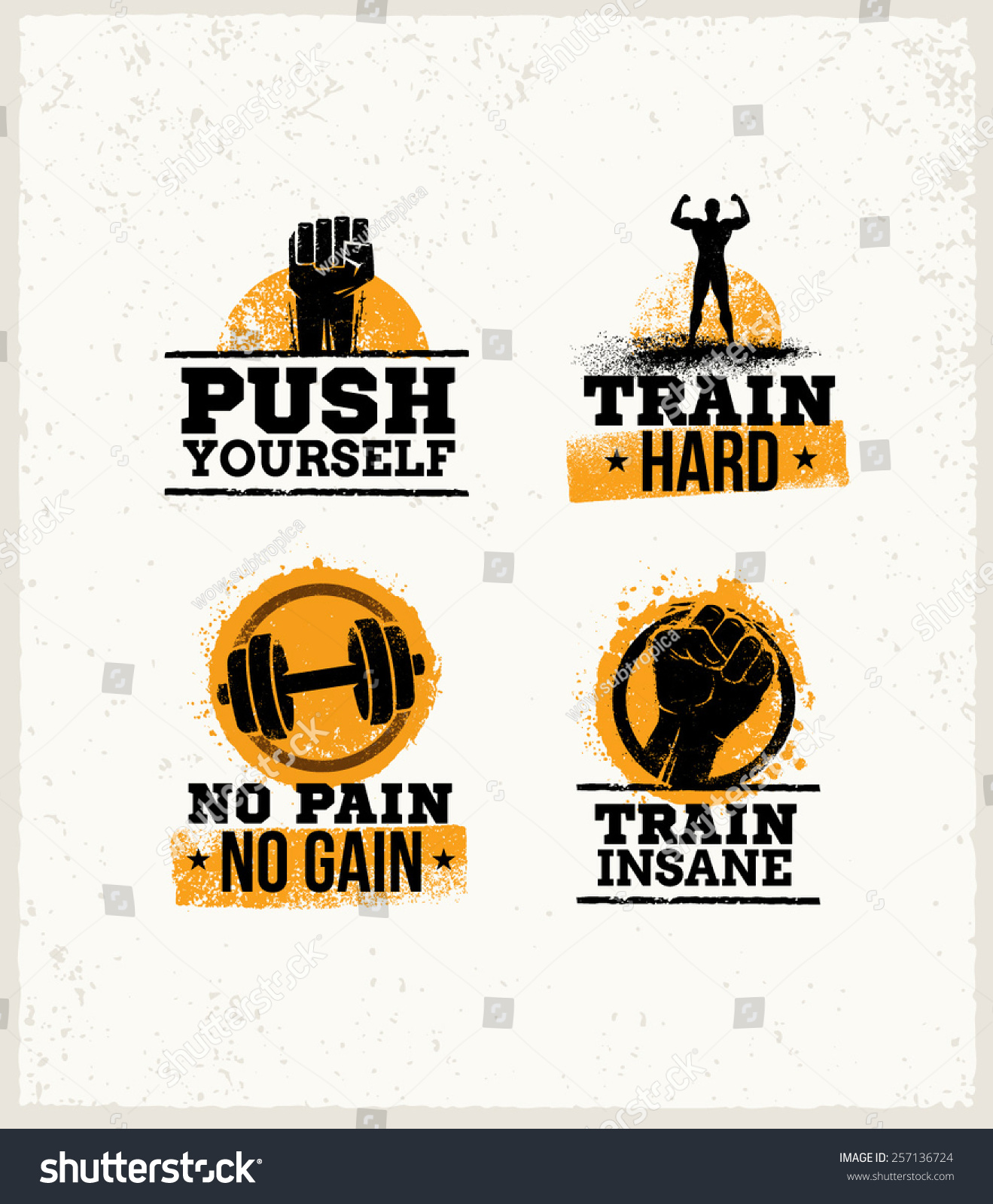 Workout gym sport fitness motivation vector stock vector for Posters para gimnasios