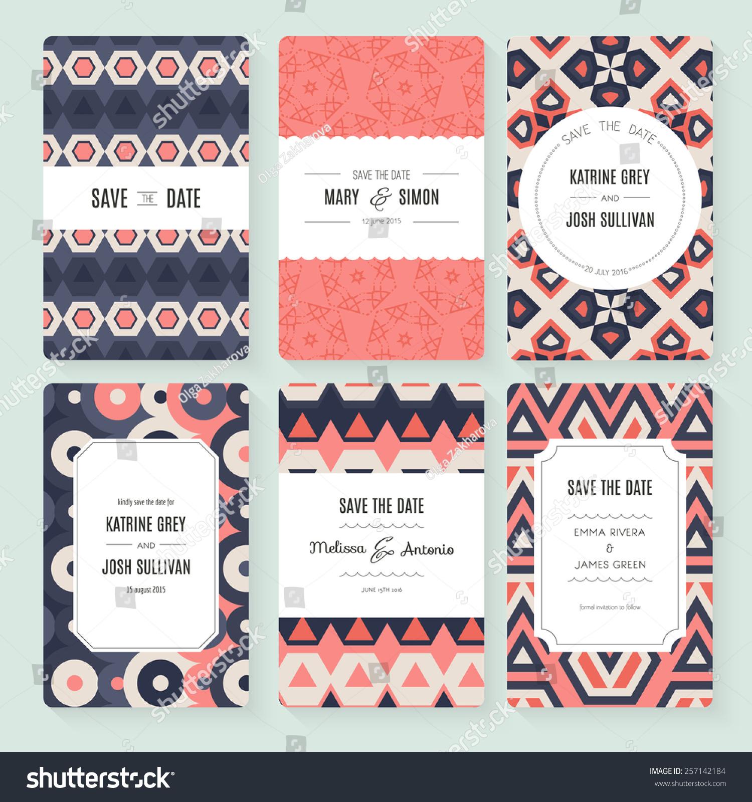 Stylish Save Date Wedding Invitation Card Stock Vector 257142184 ...