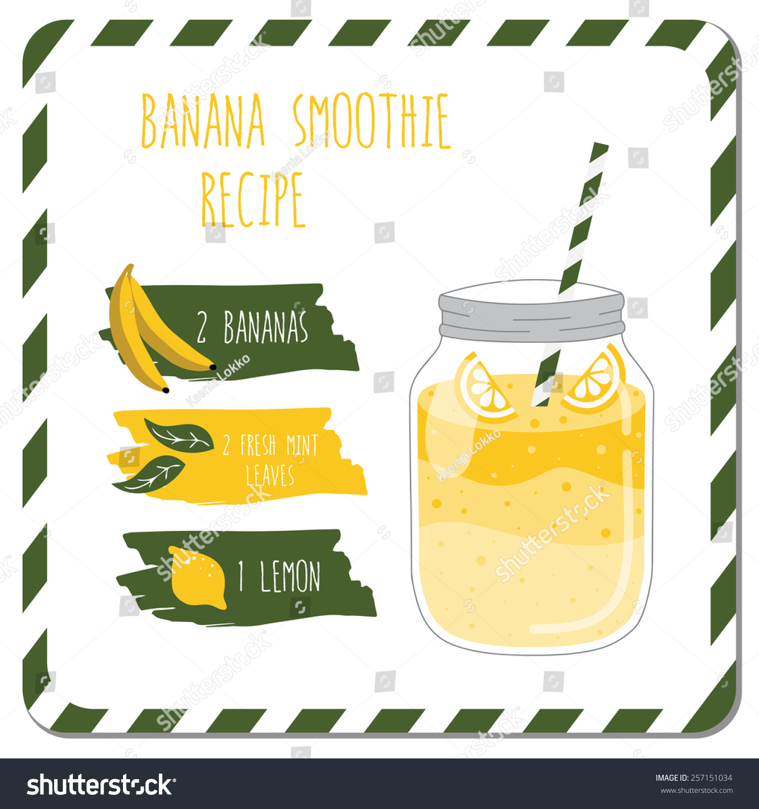 Banana Smoothie Recipe Used Kitchen Cafe Stock Photo (Photo, Vector ...