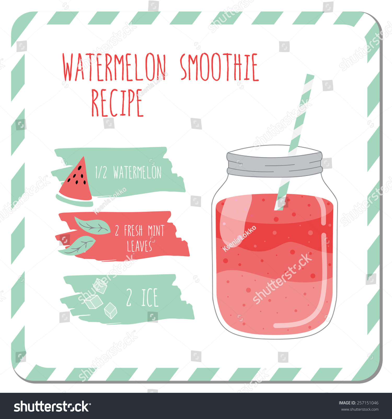 Watermelon Smoothie Recipe Used Kitchen Cafe Stock Vector 257151046 ...