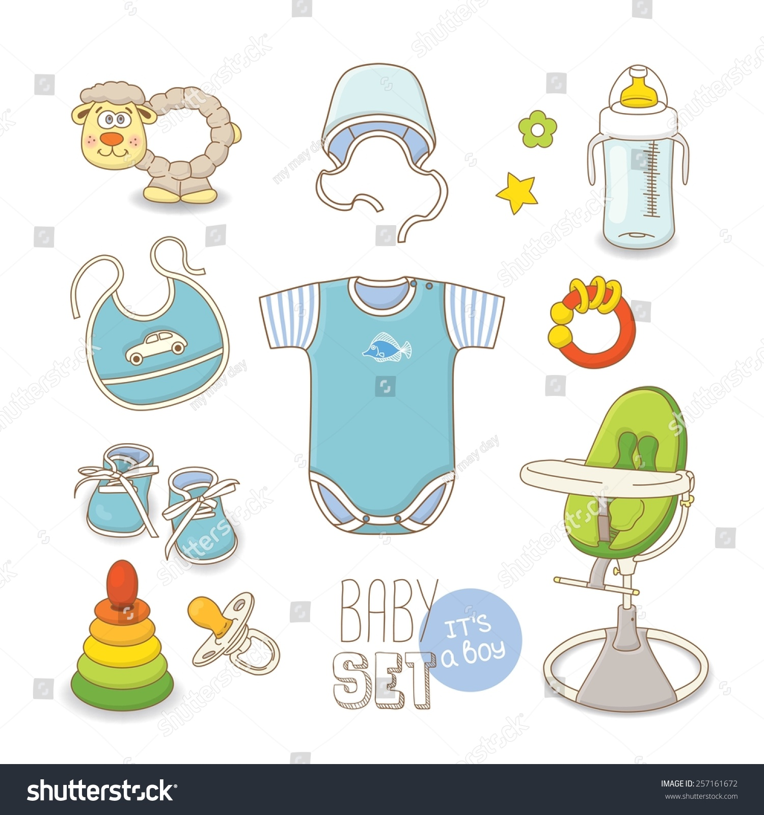 Set Baby Clothes Accessories Boy Stock Vector Shutterstock