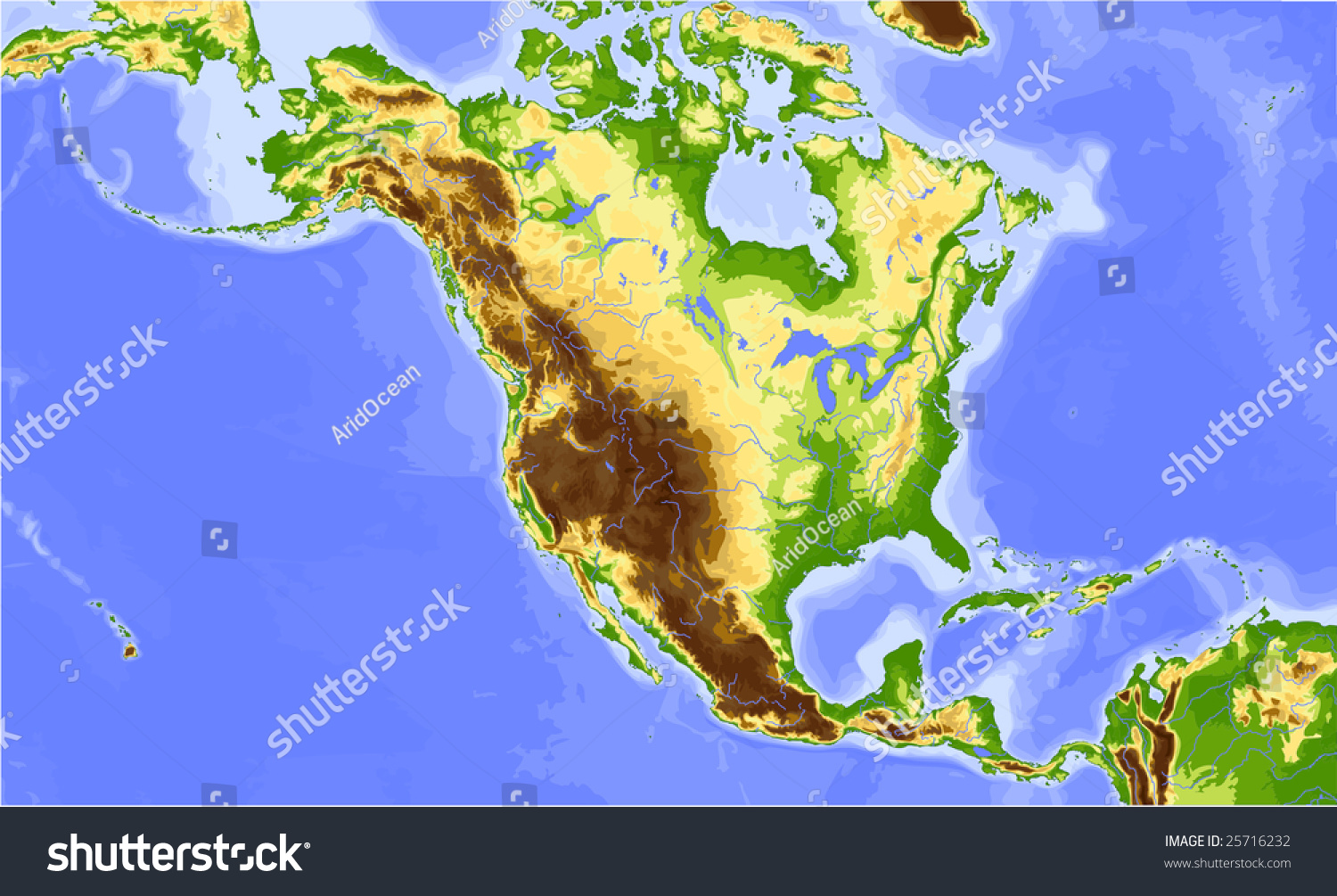 N Home Elevation Usa : North america and central physical vector map