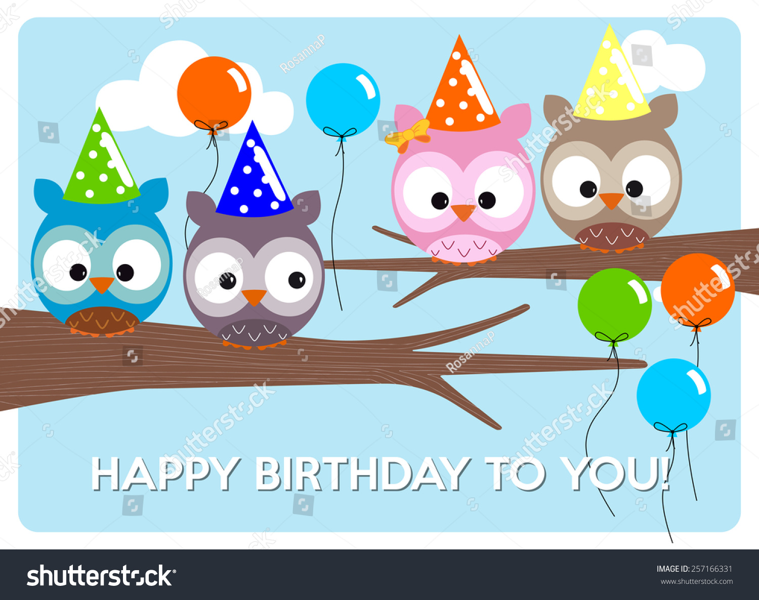 Set Of Vector Birthday Party Elements With Cute Owls Ez Canvas