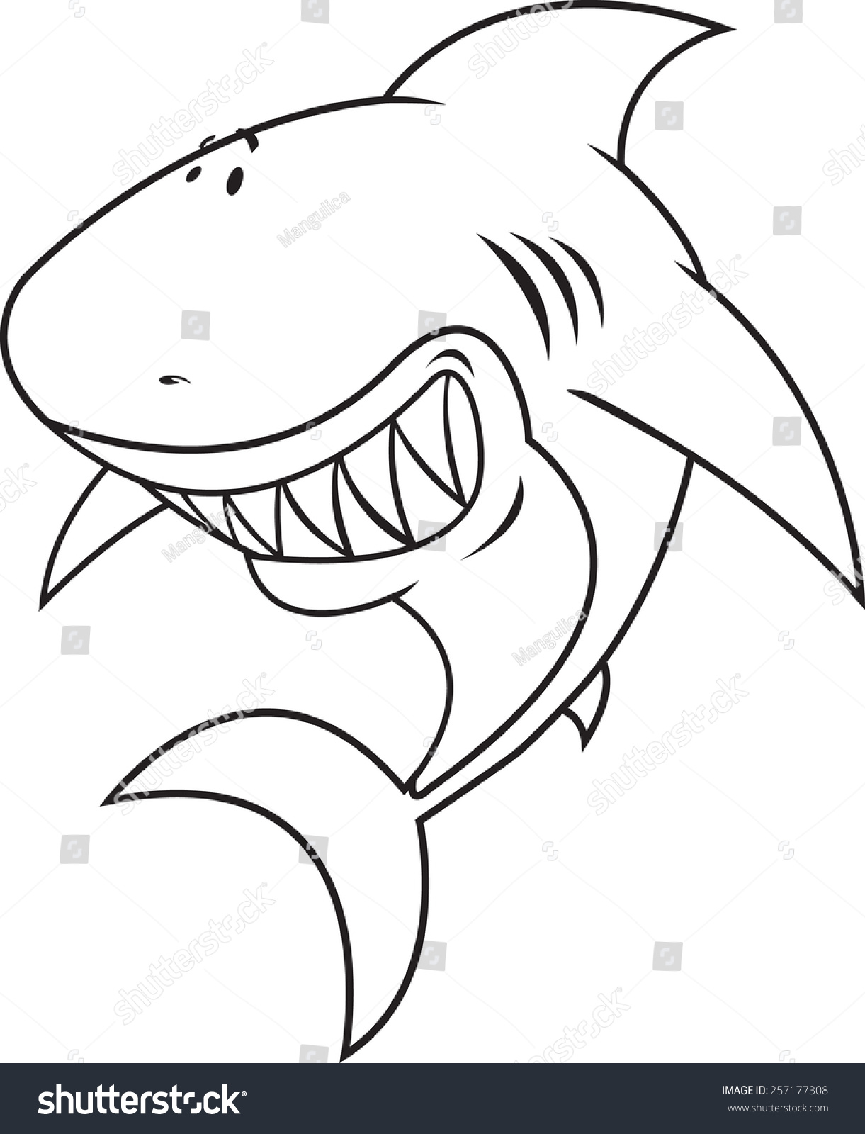 Great White Shark Happysilly Looking Coloring Book Illustration