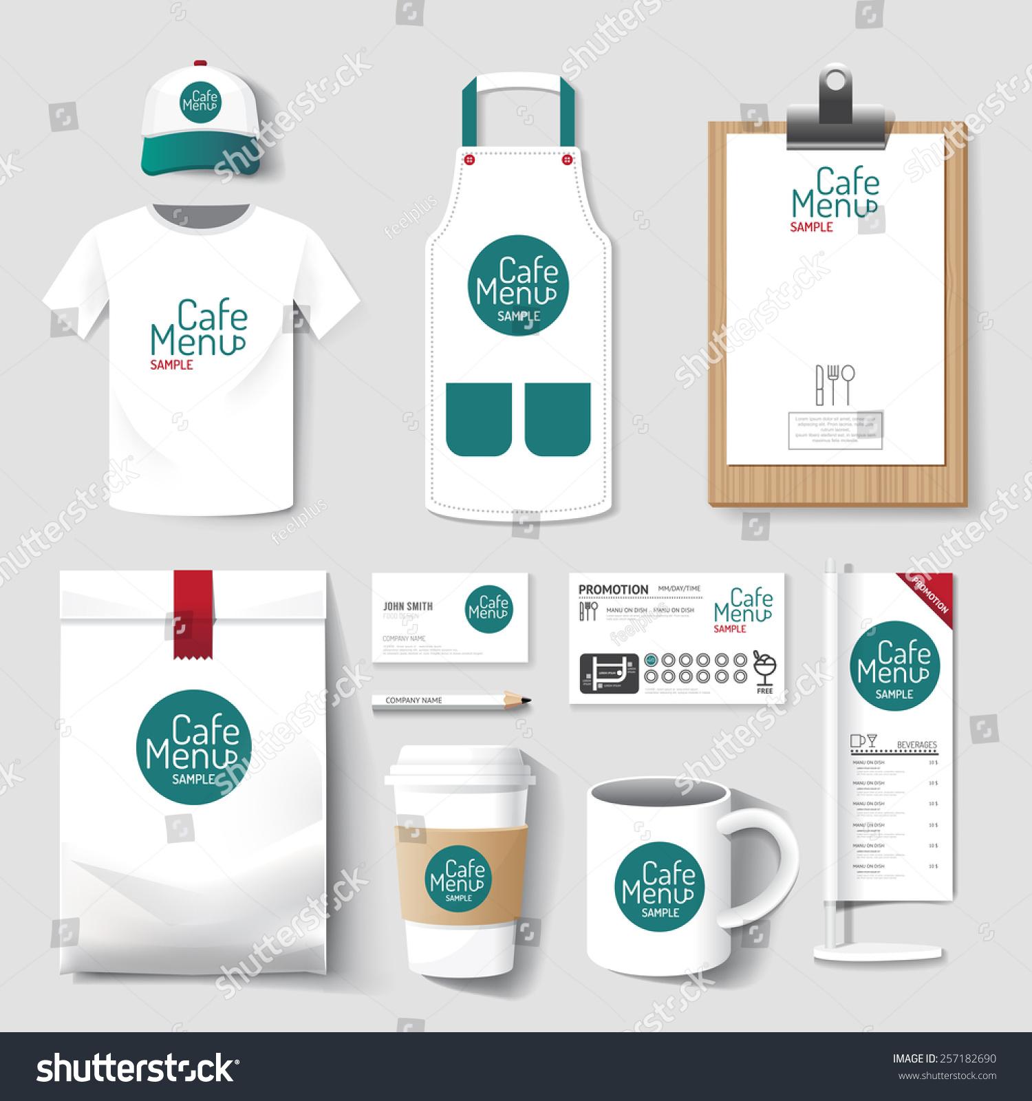 Shirt uniform design vector - Vector Restaurant Cafe Set Flyer Menu Package T Shirt Cap