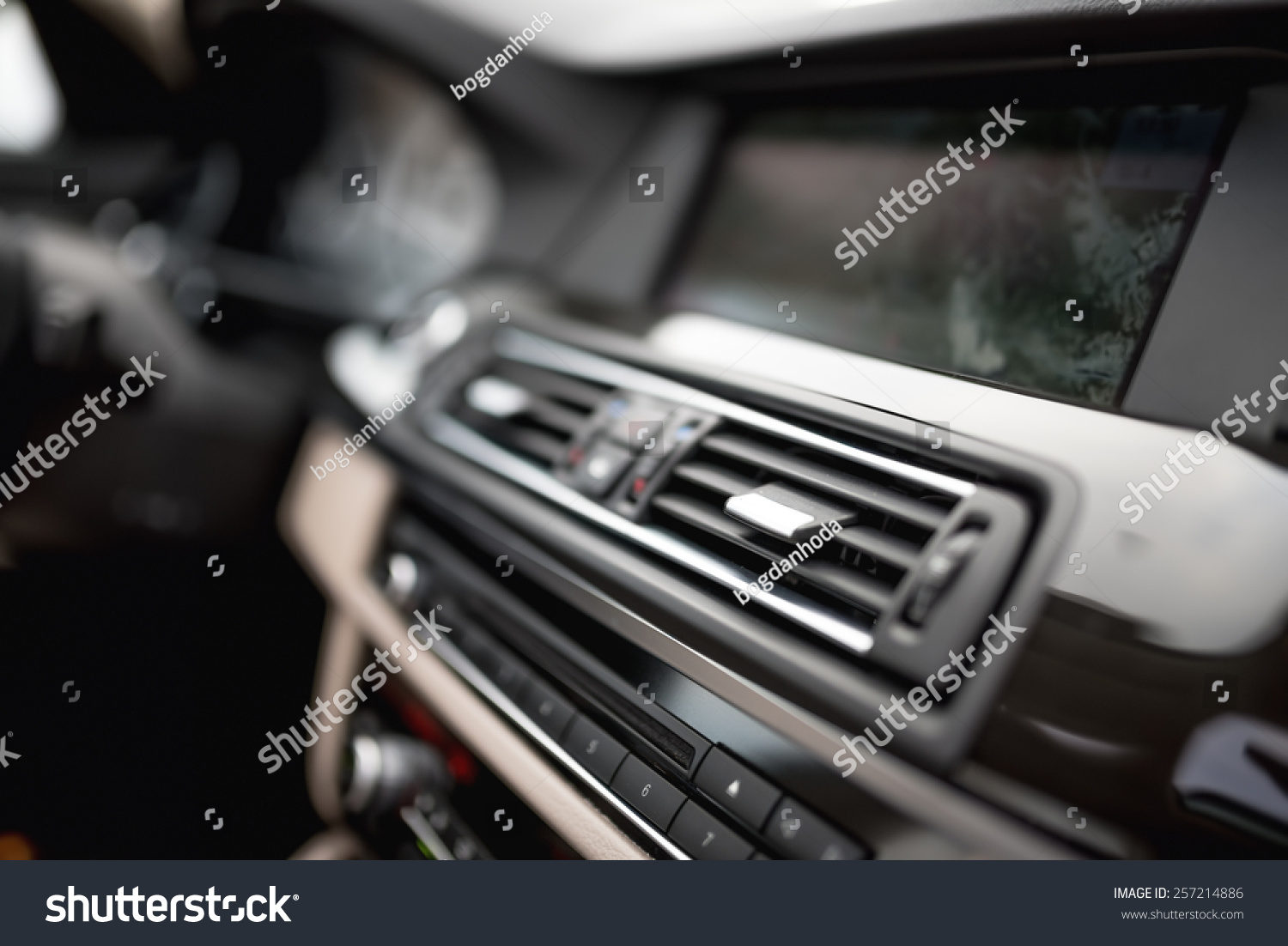 modern car interior with close up of ventilation system holes and air conditioning concept. Black Bedroom Furniture Sets. Home Design Ideas