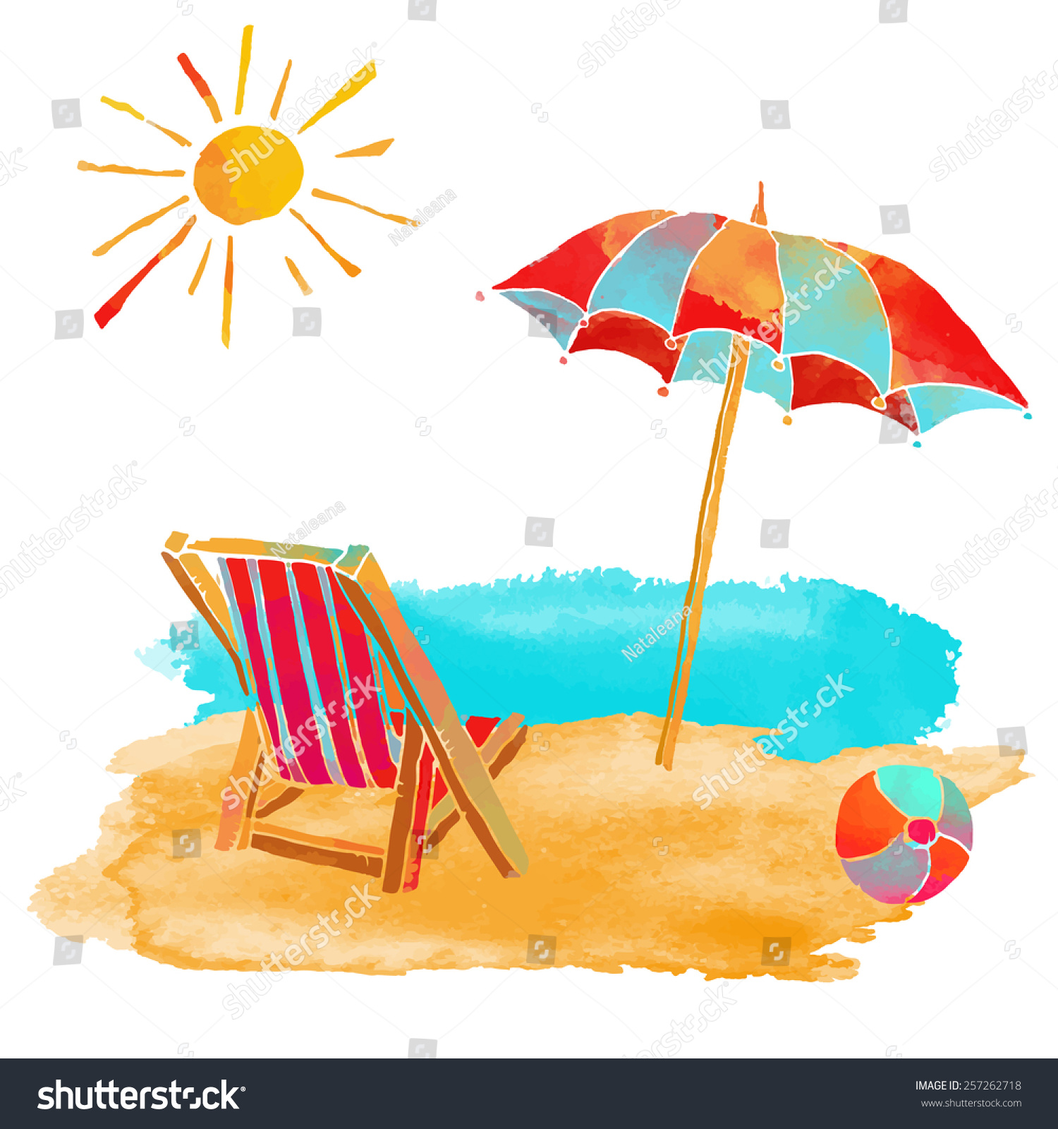 Beach chair and umbrella set - Watercolor Summer Beach Set Sea Sun Sun Umbrella Ball Deck Chair