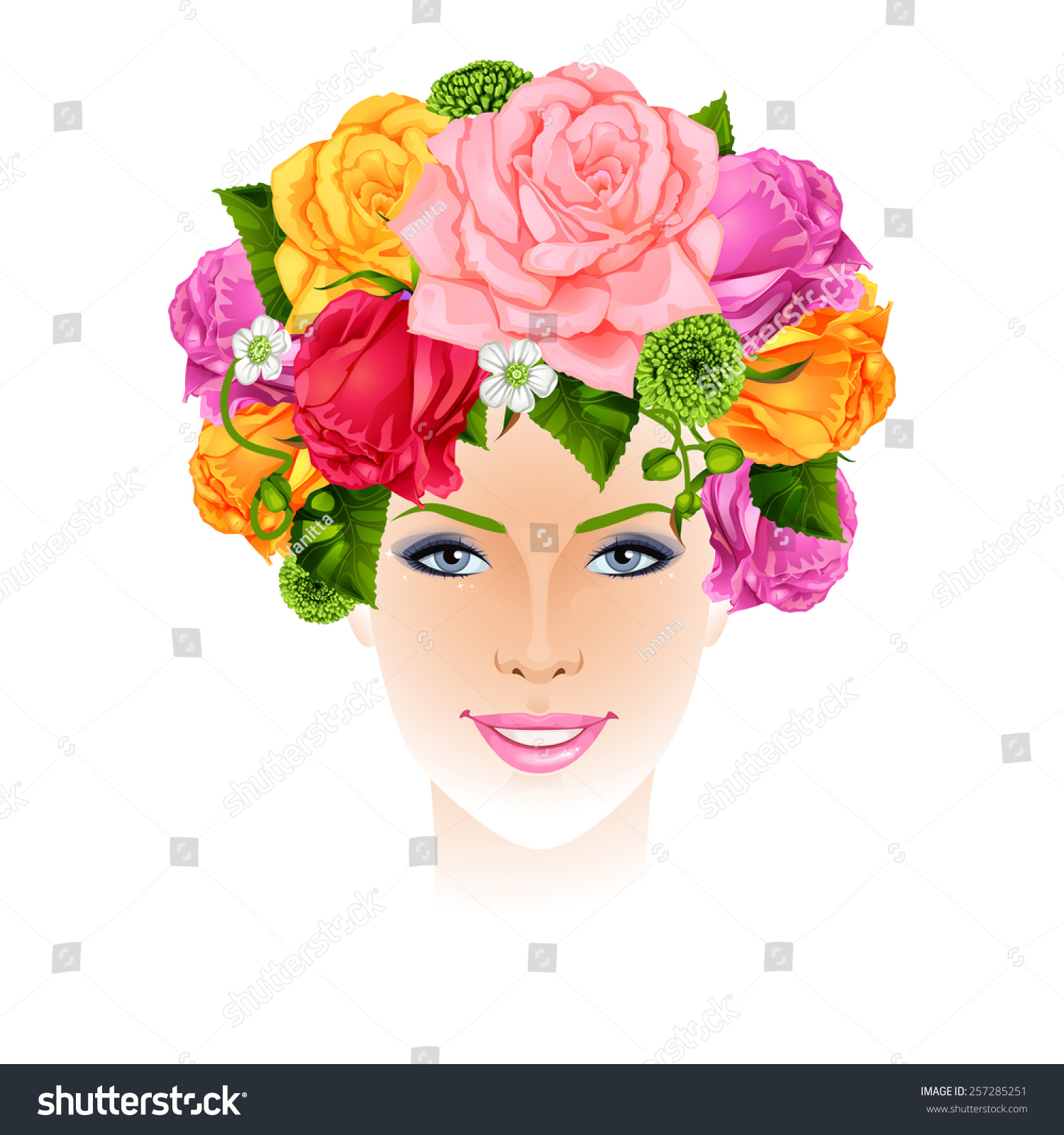 Beautiful woman flowers instead hair isolated stock vector 257285251 beautiful woman with flowers instead hair isolated vector illustration izmirmasajfo Image collections