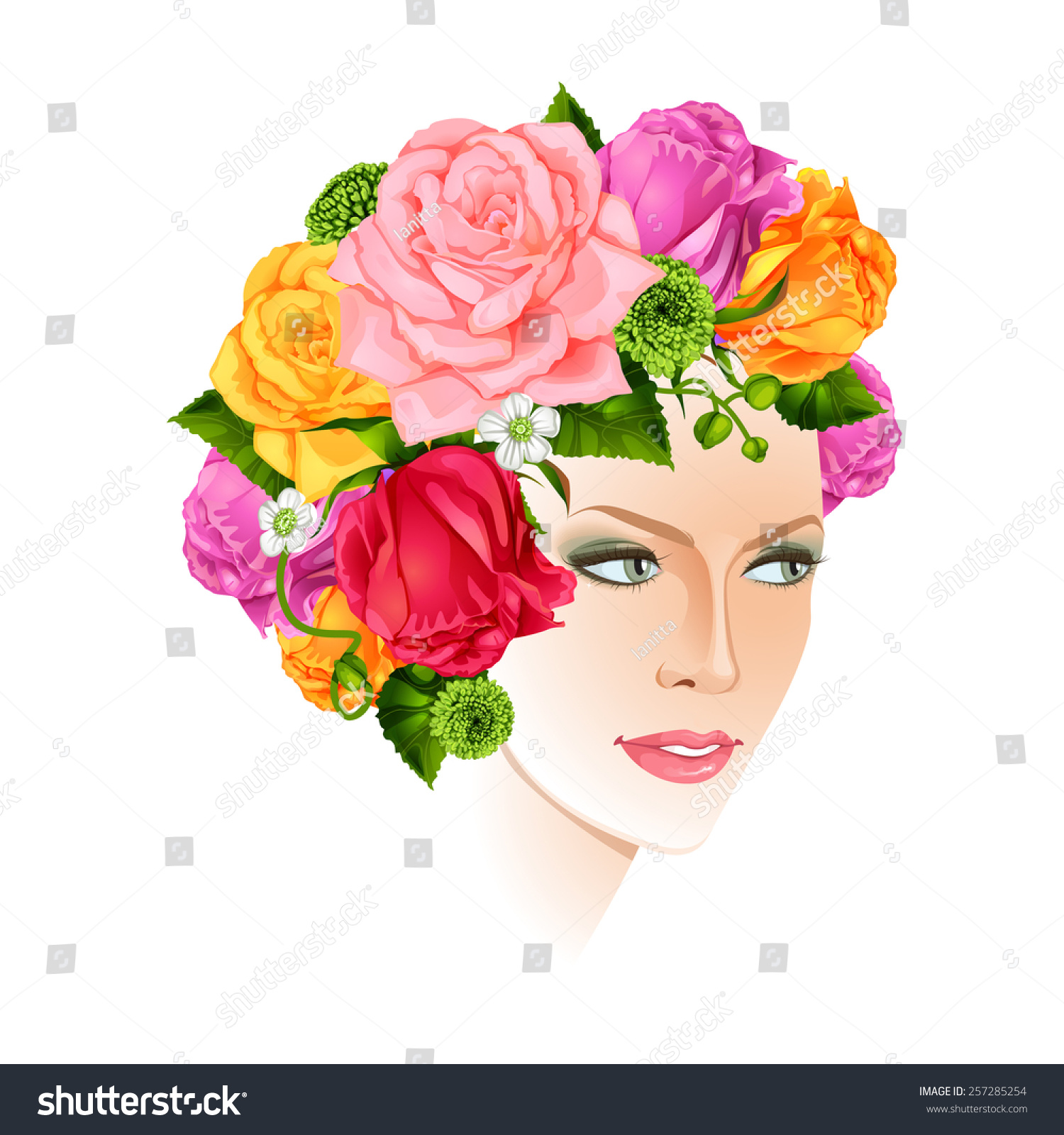 Beautiful woman flowers instead hair isolated stock vector beautiful woman with flowers instead hair isolated vector illustration dhlflorist Gallery