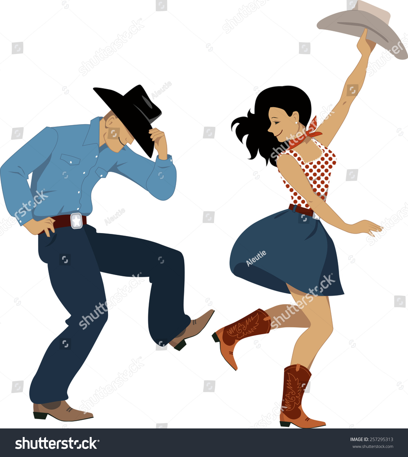 Cowboy Cowgirl Dancing Country Western Dance Stock Vector 257295313