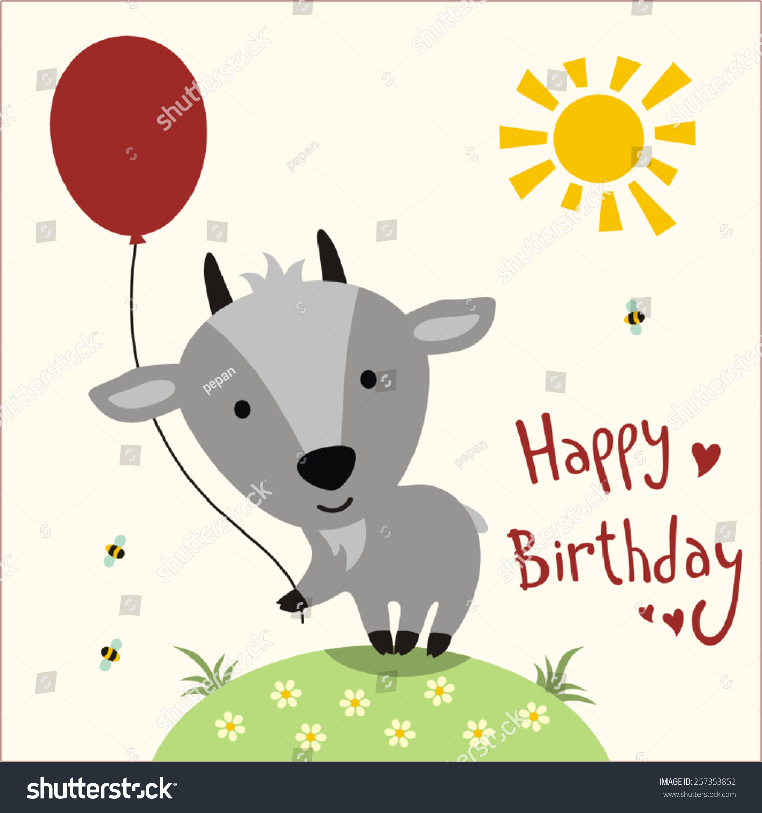 Happy Birthday Cute Little Goat Balloon Vector 257353852 – Goat Birthday Card