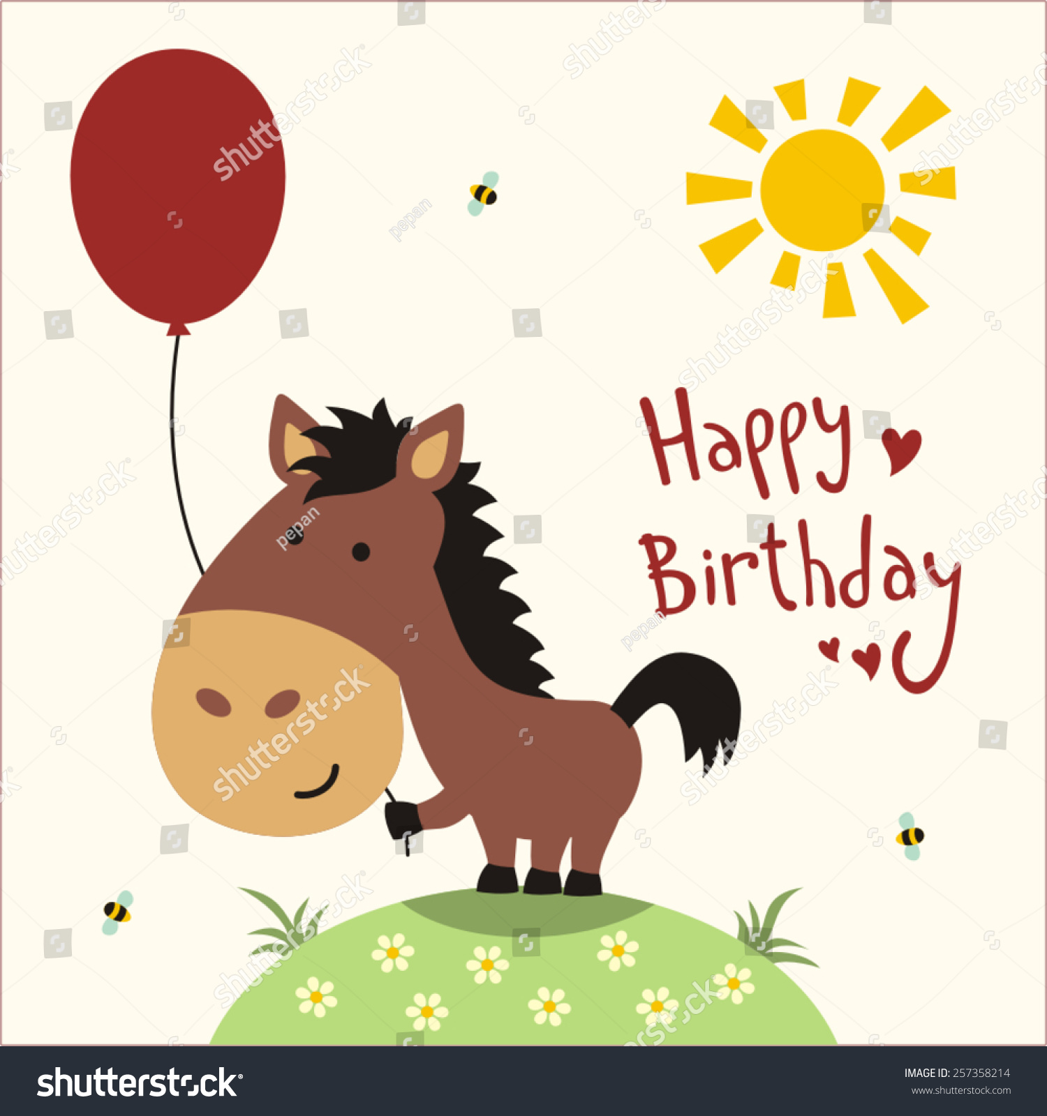 Happy Birthday Funny Little Horse With Balloon