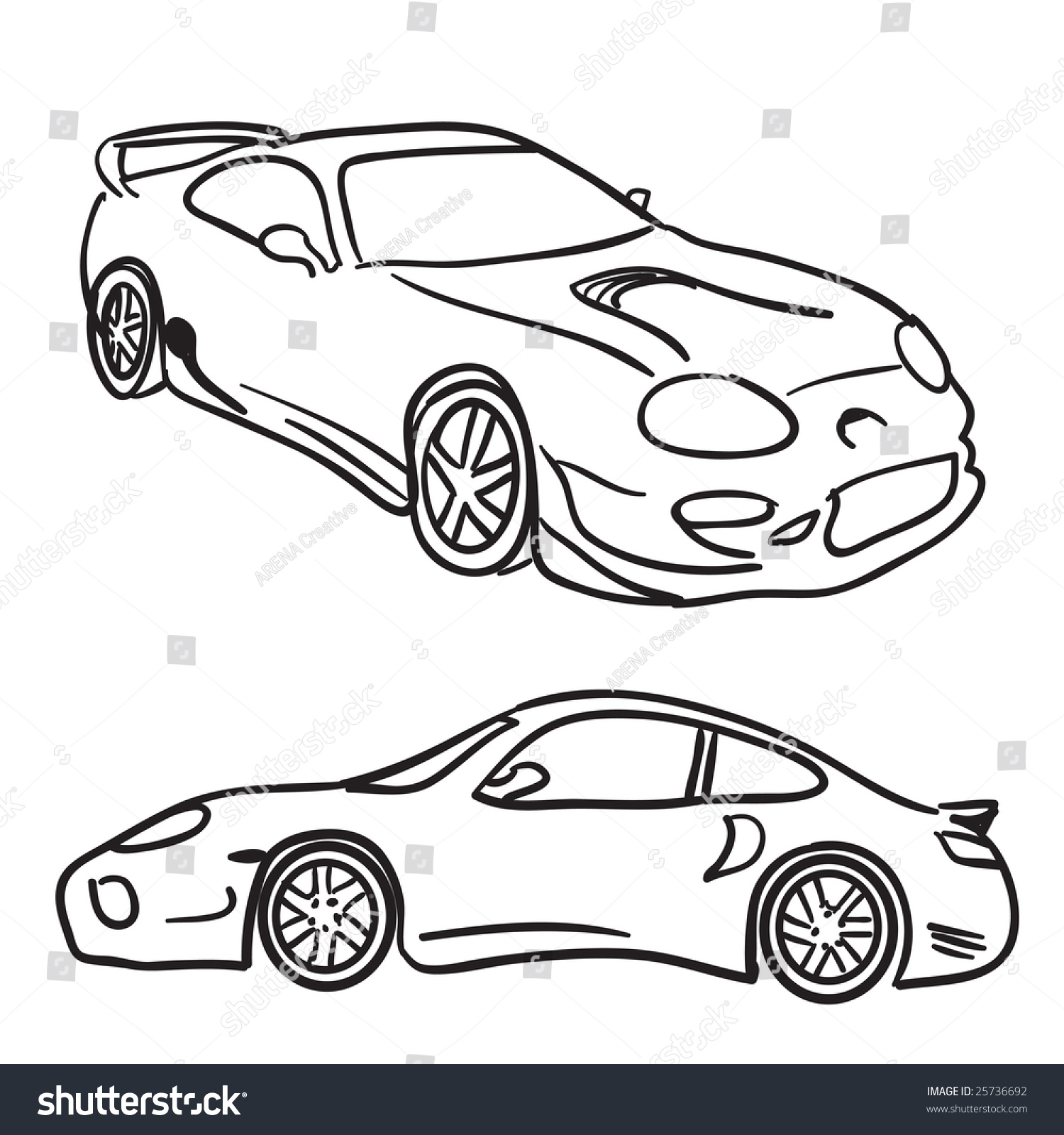 Clip Art Sports Car Drawings Isolated Over White In Vector Format Paint Them Any Color Your Need Or Simply Use As Is Stock Photo