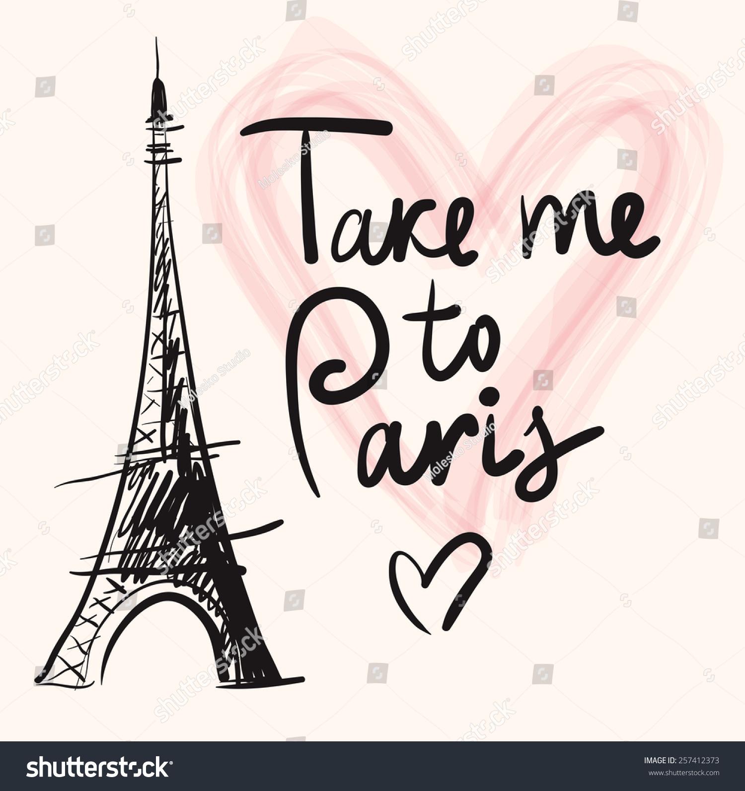 Paris Illustration: Vector Hand Drawn Illustration Eiffel Tower Stock Vector