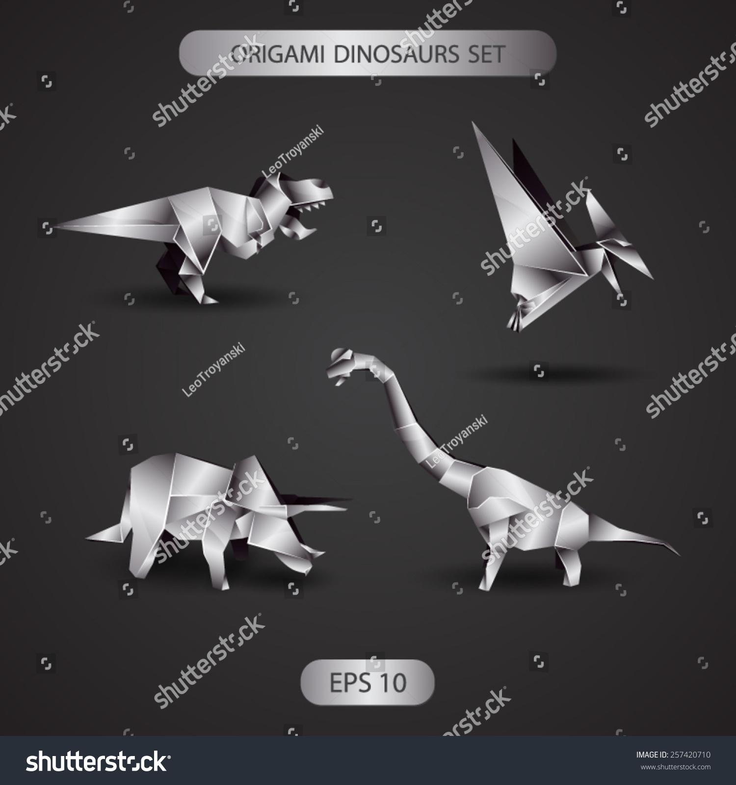 Chrome origami dinosaurs set stock vector 257420710 shutterstock chrome origami dinosaurs set jeuxipadfo Choice Image
