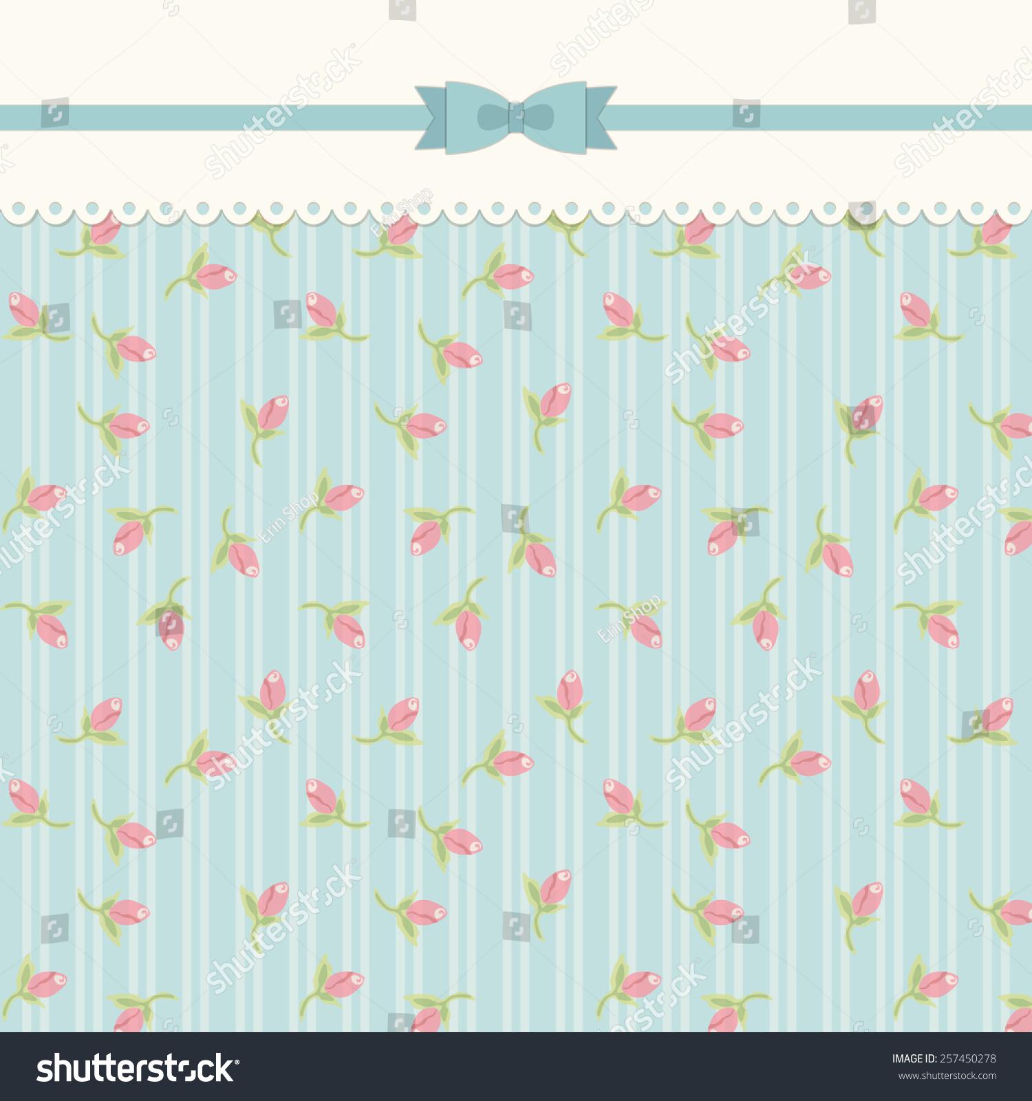 Cute Vintage Shabby Chic Background Roses Stock Illustration