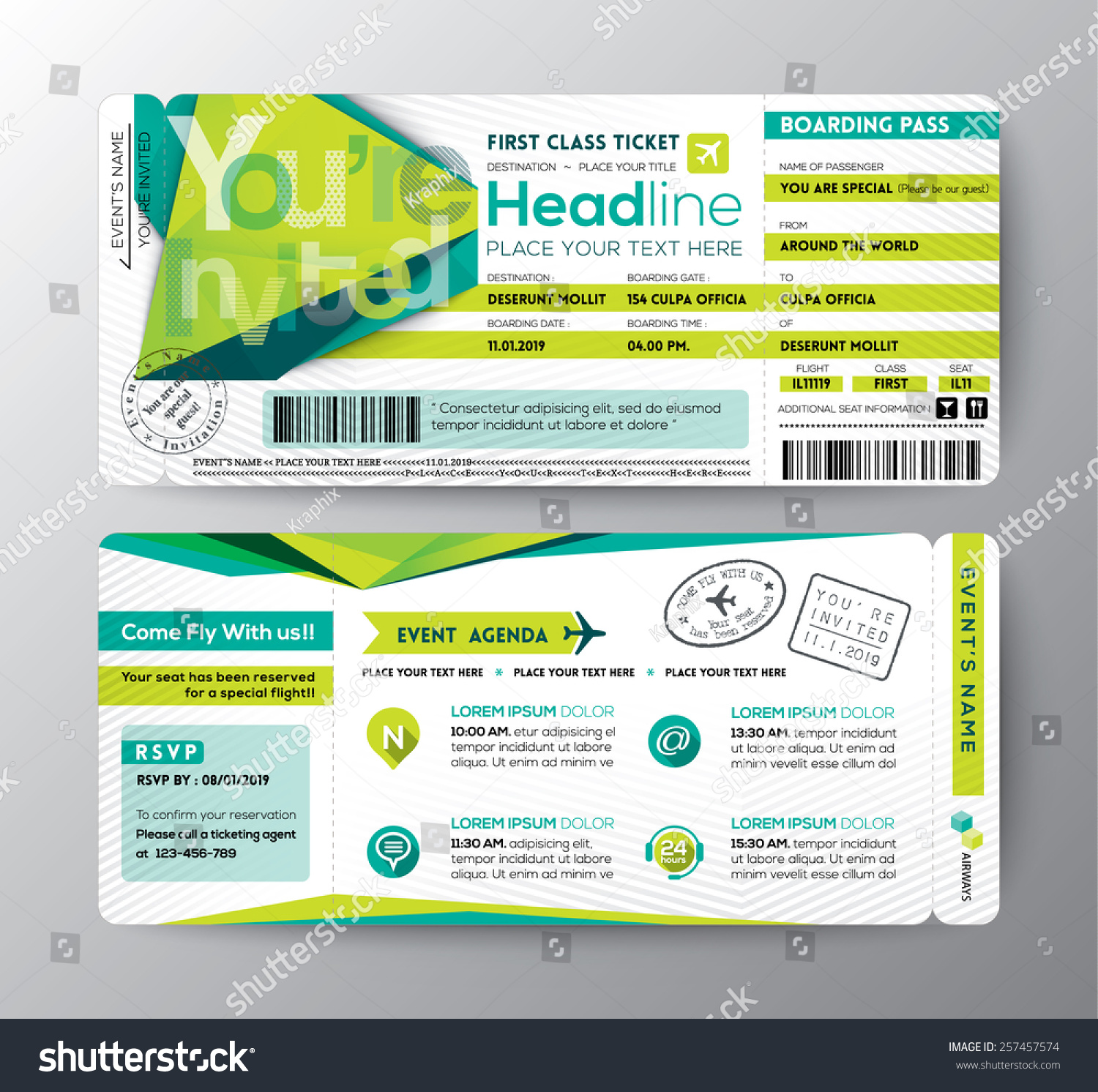 Abstract Polygon Design Boarding Pass Event Vector 257457574 – Event Card Template
