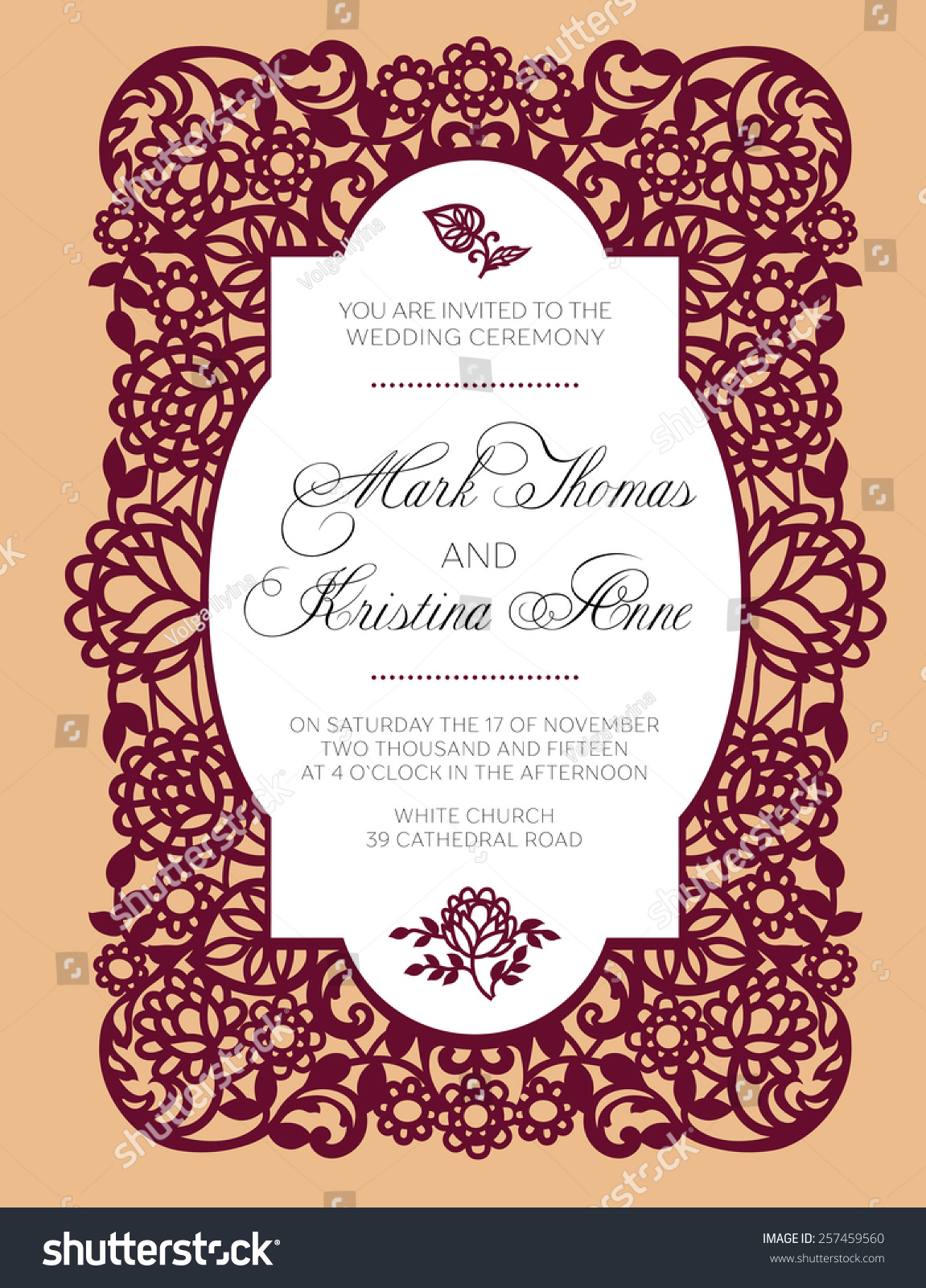 Pattern Wedding Invitation Exquisite Lace Stock Photo (Photo, Vector ...