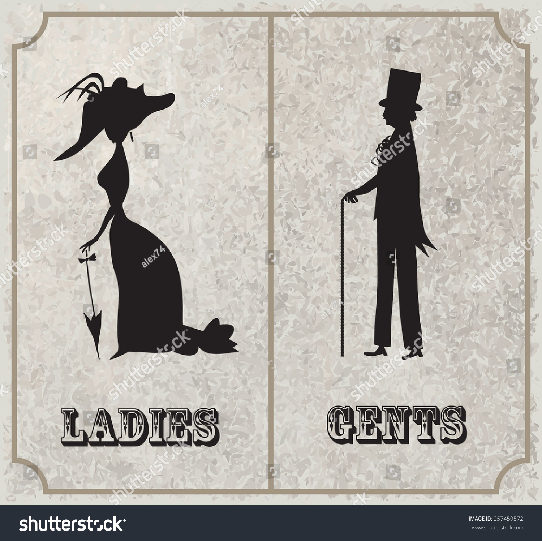 Lady Gentleman Symboltoilet Sign Vintage Style Stock Vector 257459572 Shutterstock