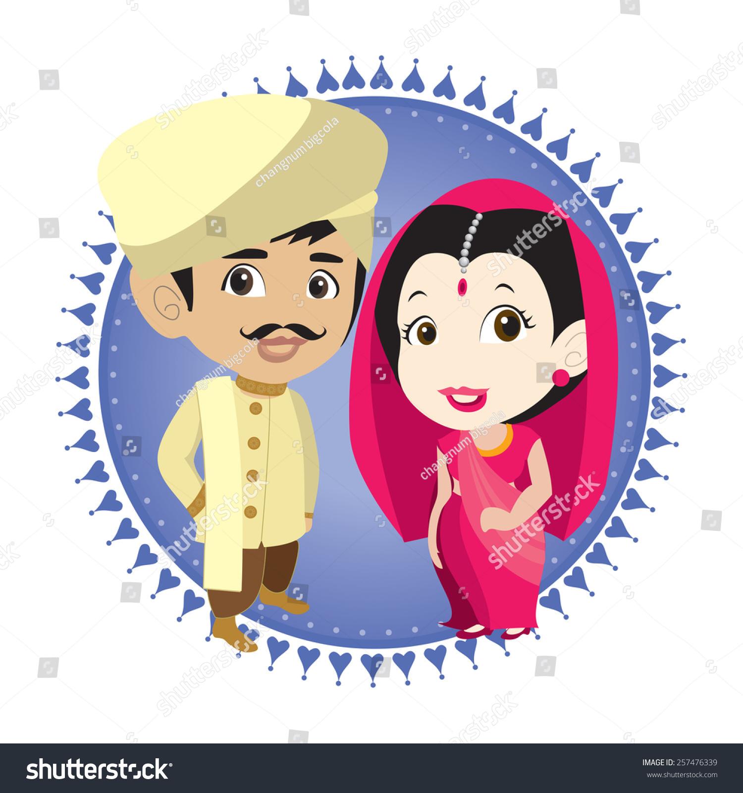 Cartoon Vector Indian Bride Groom Stock Vector 257476339 ...