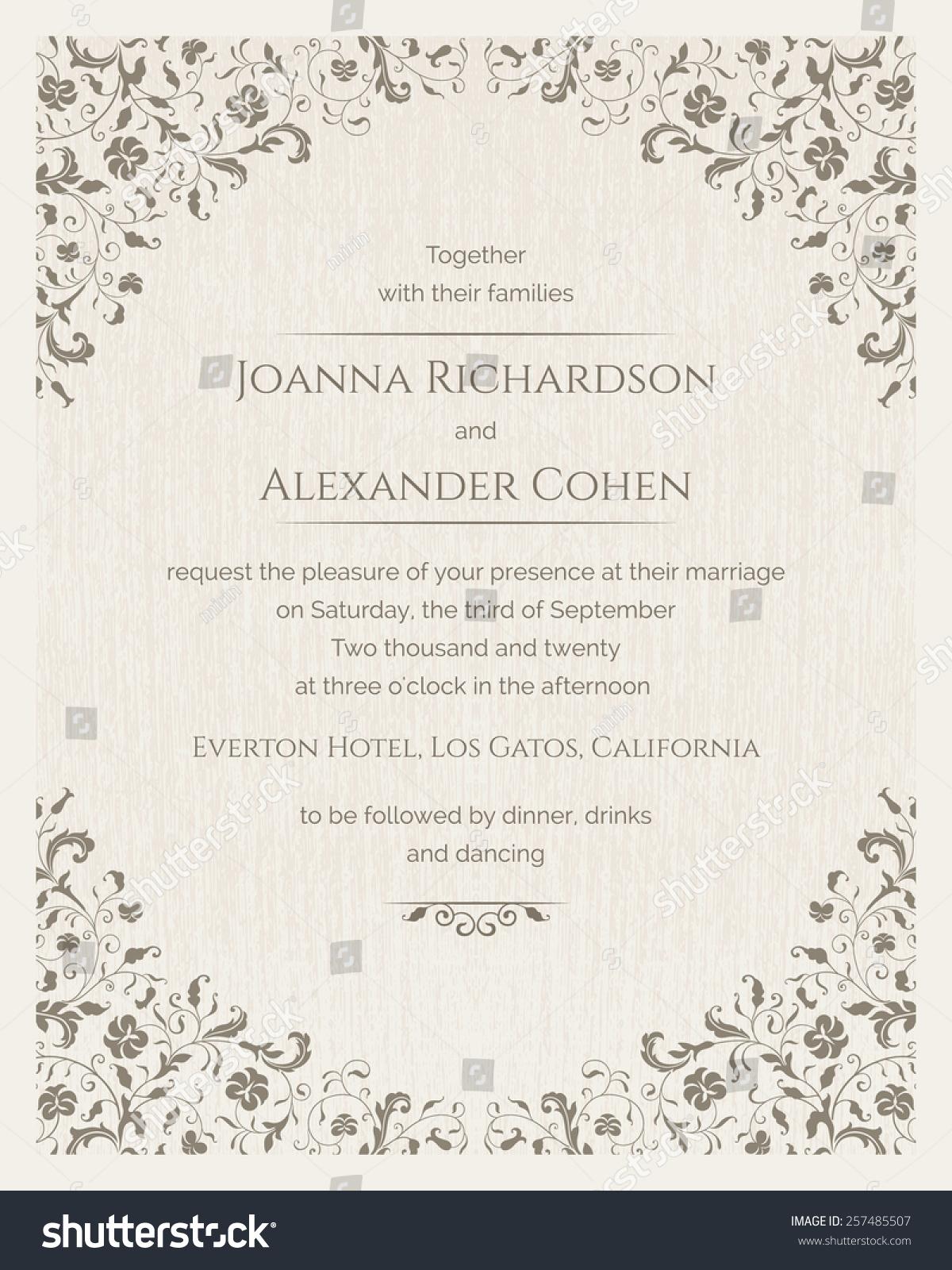 Invitation Card Grunge Texture Wedding Invitation Stock Vector 257485507