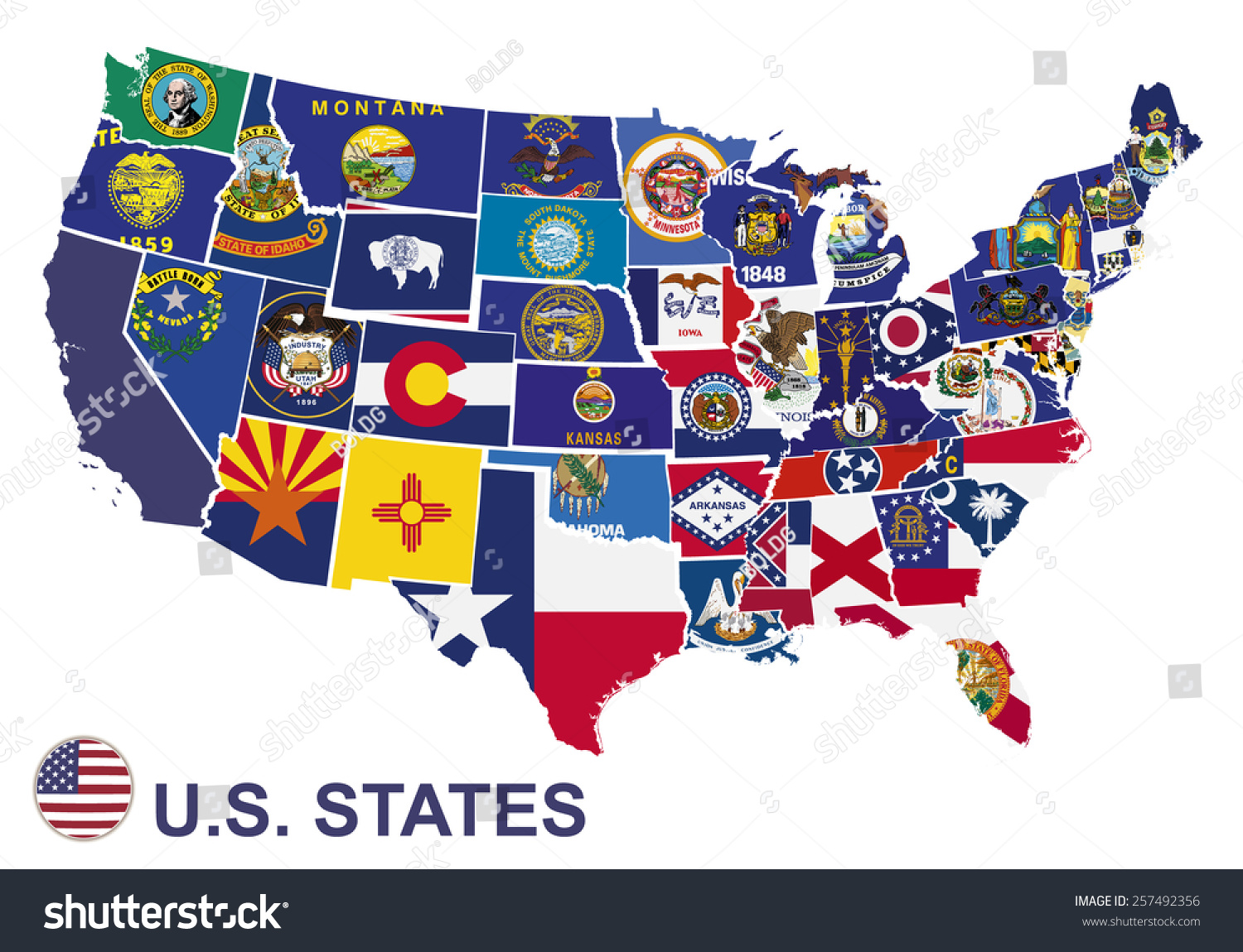 Us Map Flags States On White Stock Vector Shutterstock - Us map with glag