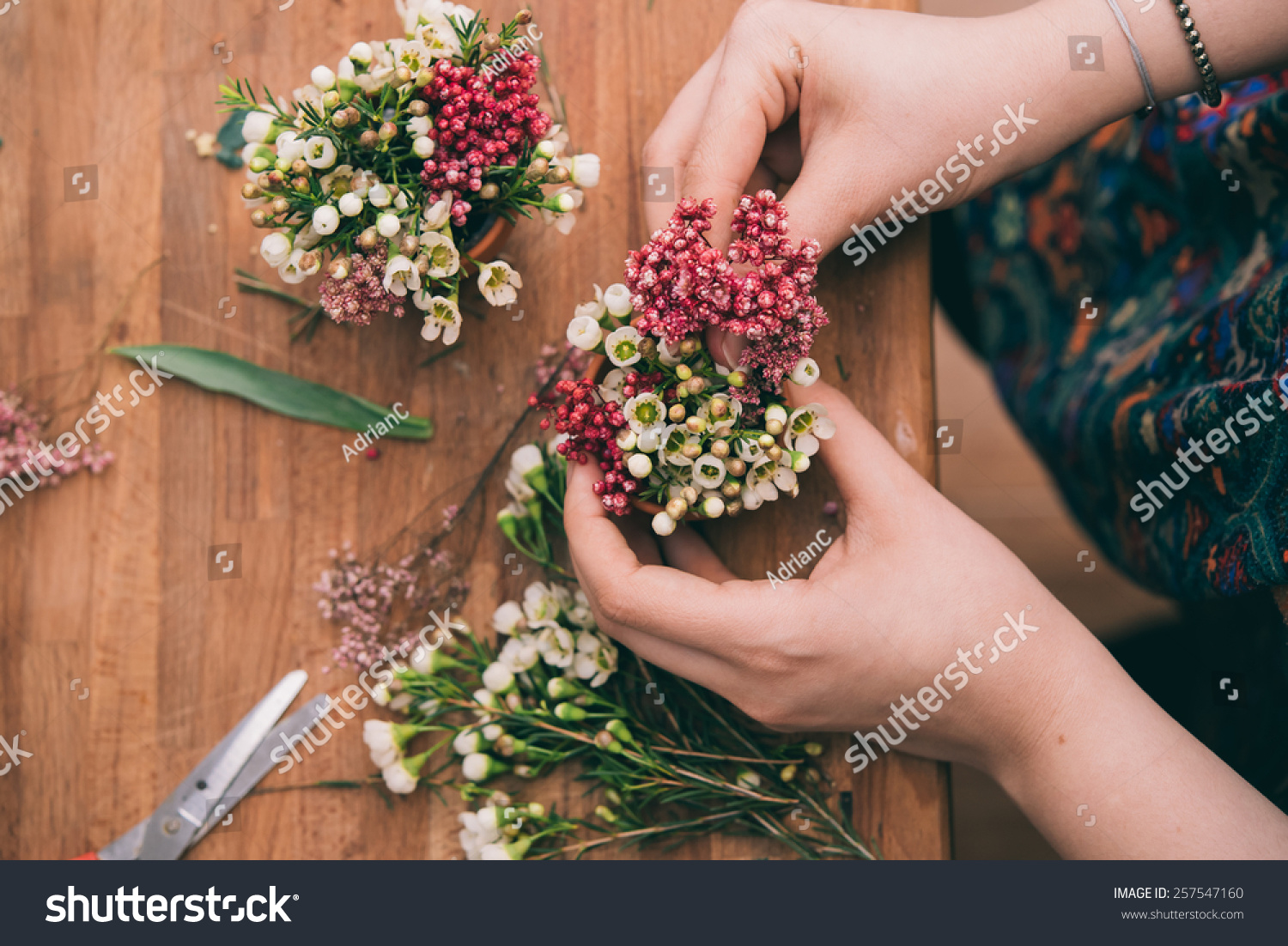 Florist Workspace Woman Making Floral Arrangement Stock Photo (100 ...