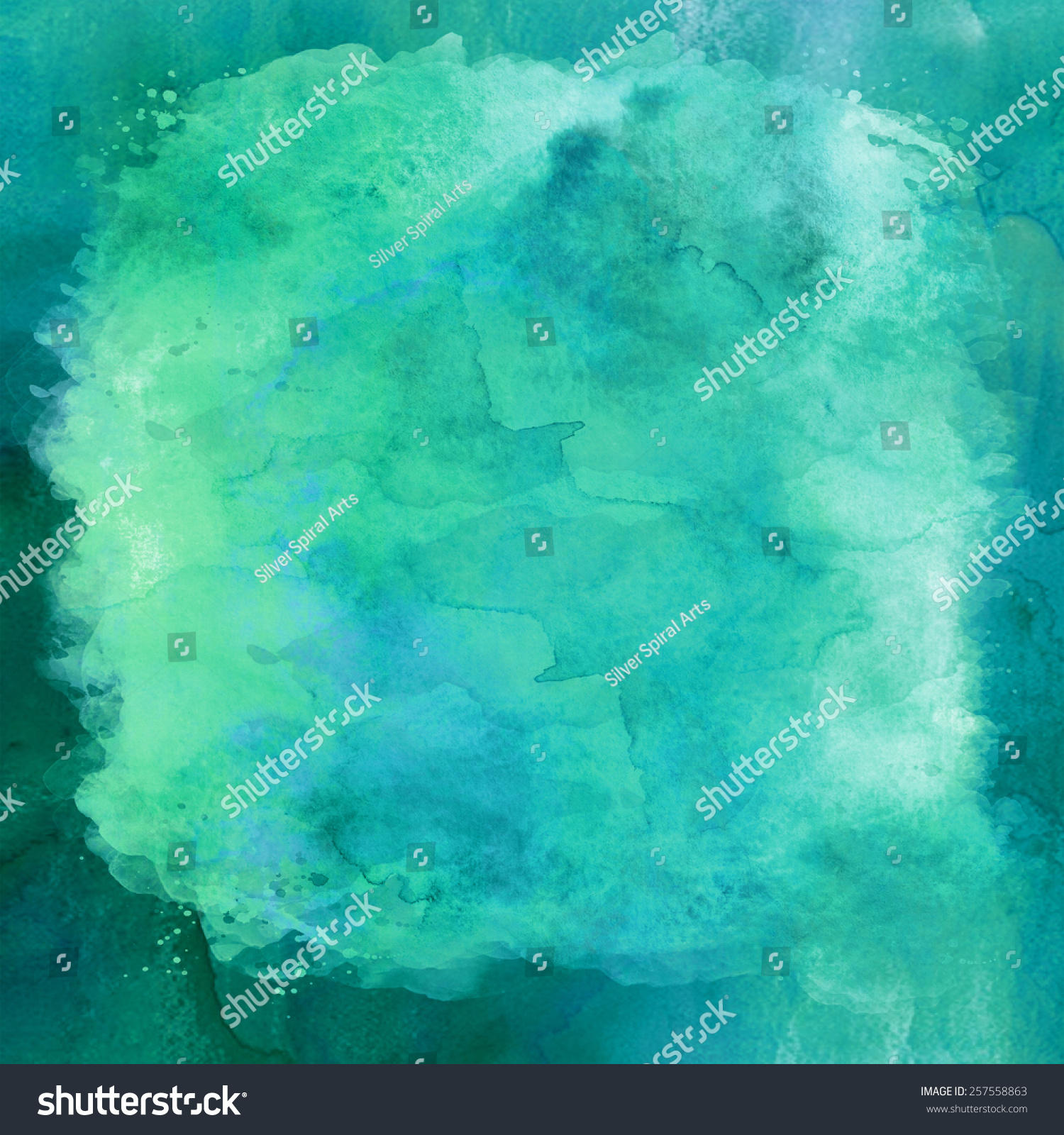 The Texture Of Teal And Turquoise: Blue And Green Aqua Teal Turquoise Watercolor Paper