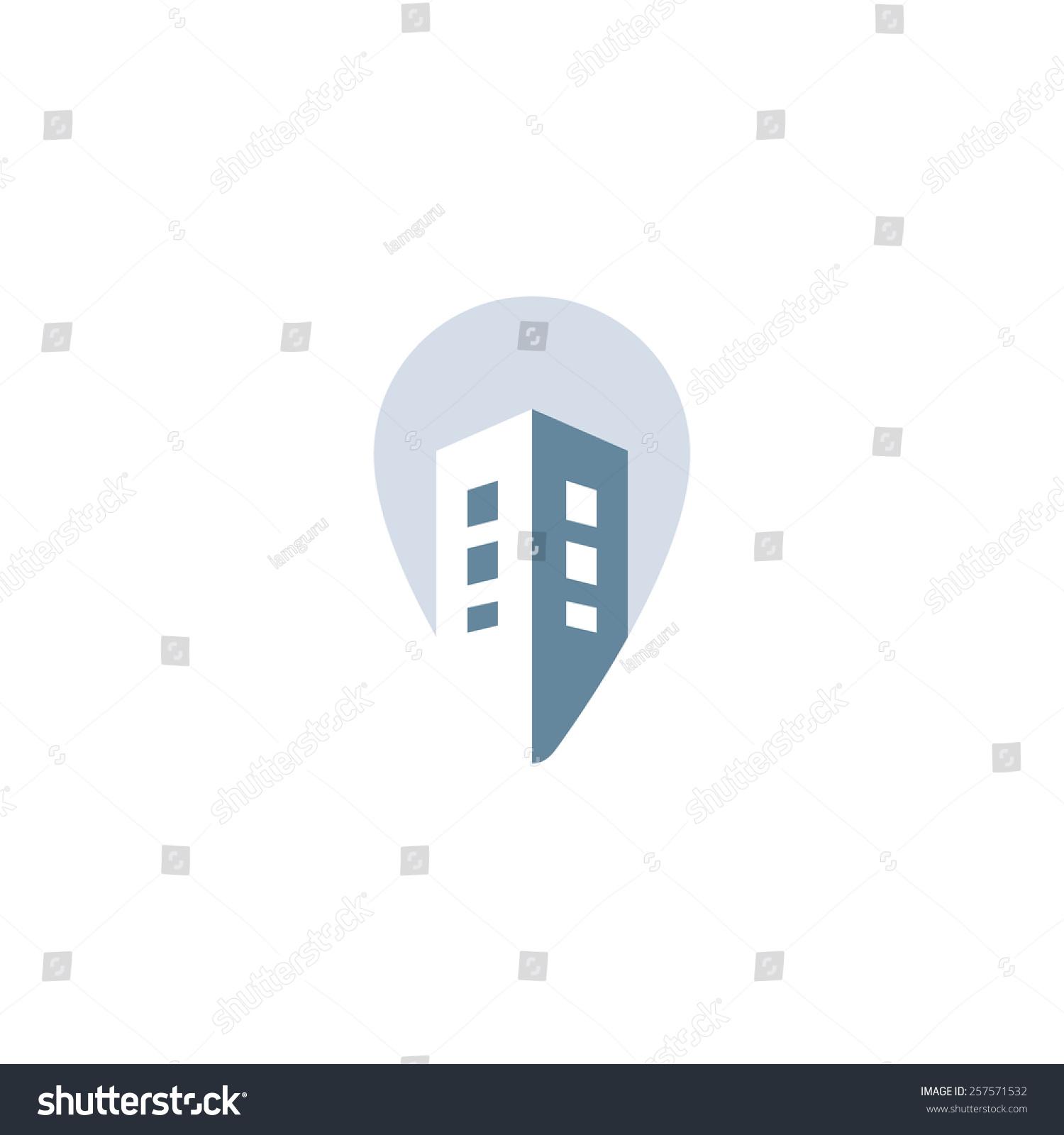 Real Estate Development Icon : Pin house vector concept construction development stock