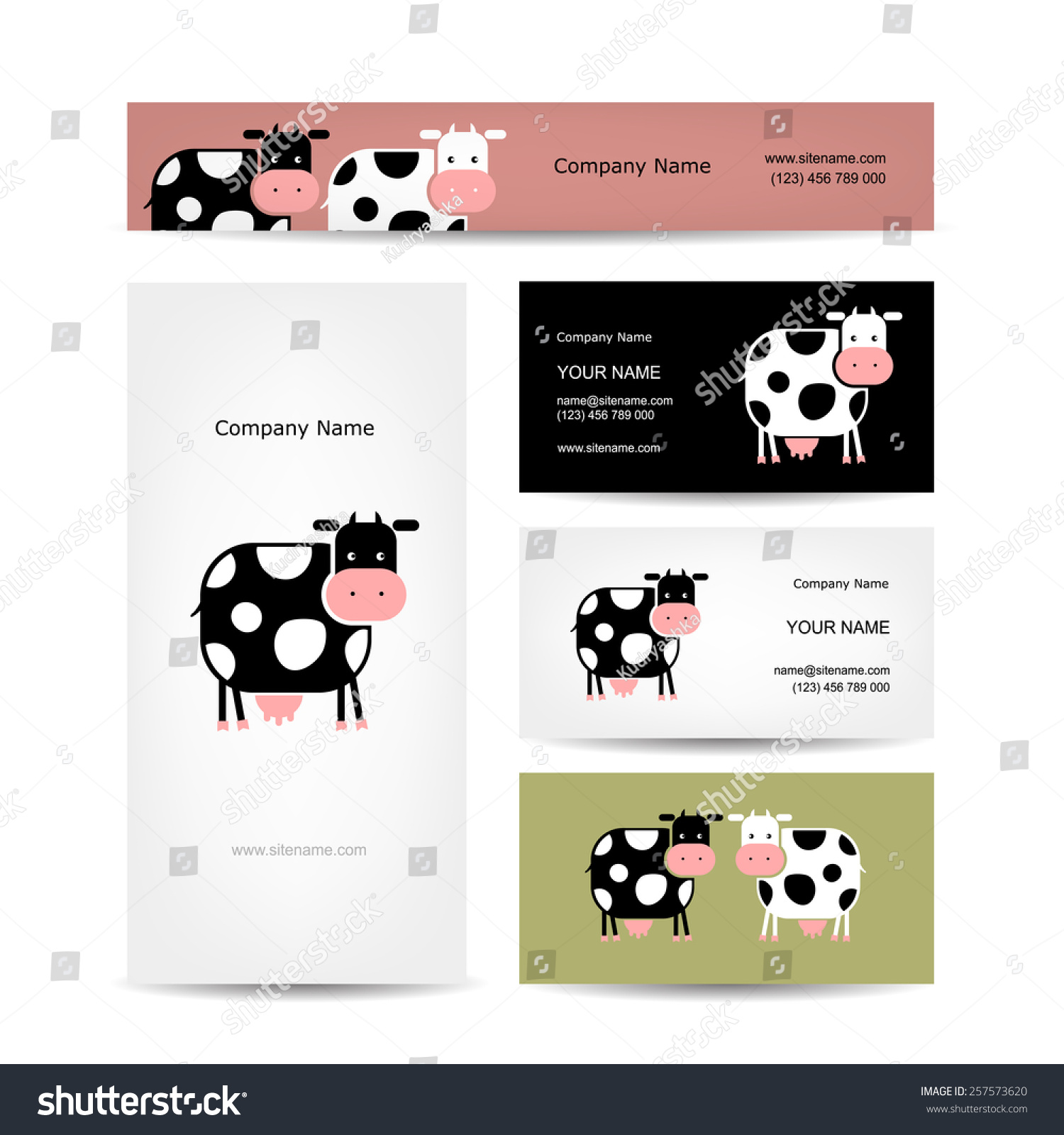 Business Cards Design Funny Cow Vector Stock Vector 257573620 ...
