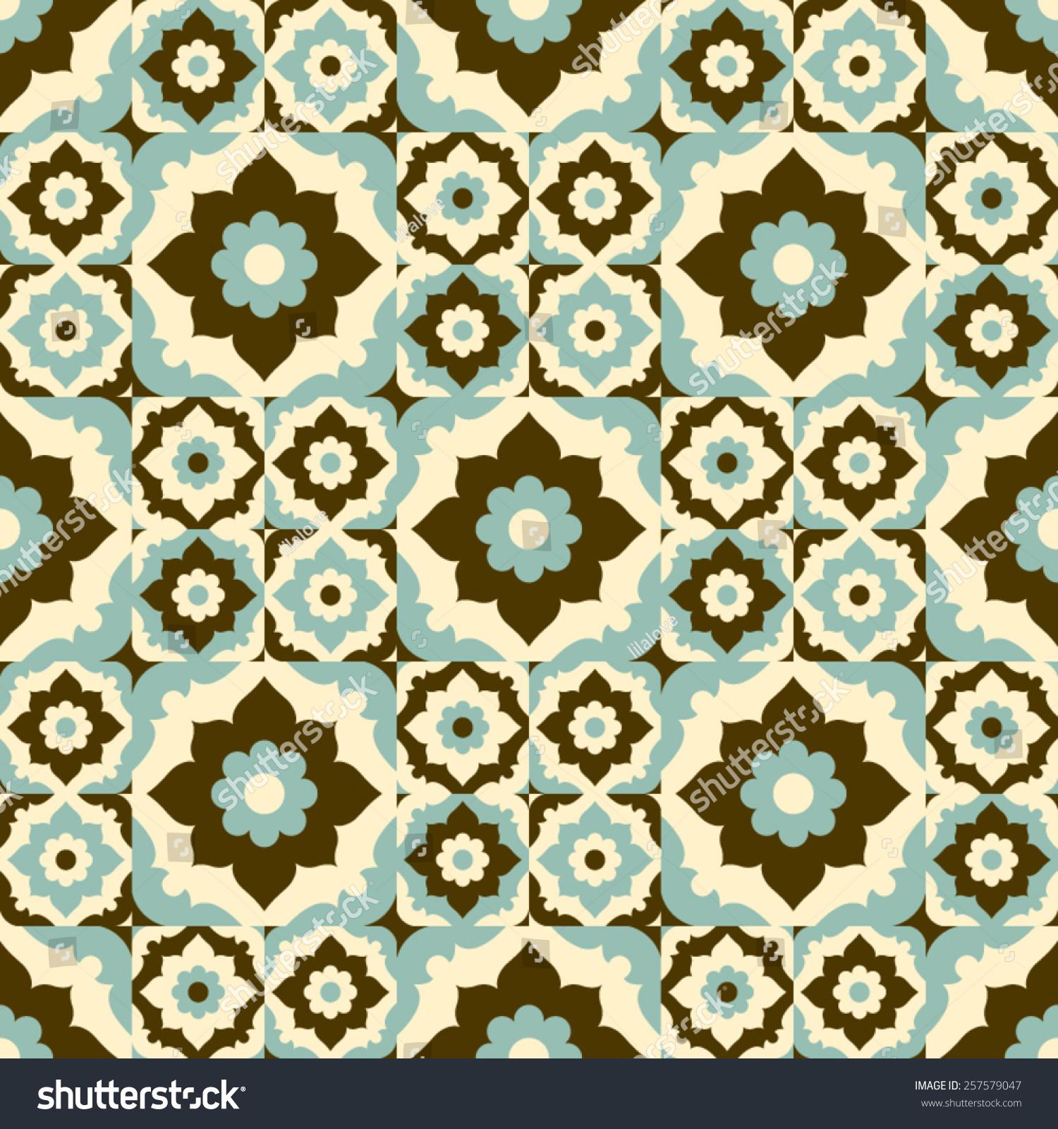Seamless Pattern Vintage Ceramic Tile Design Stock Vector Royalty