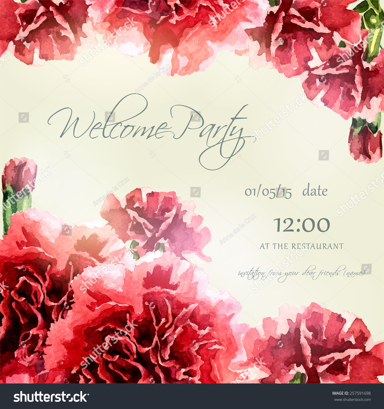 Invitation Card Watercolor Carnation Frame Wedding Stock Vector ...