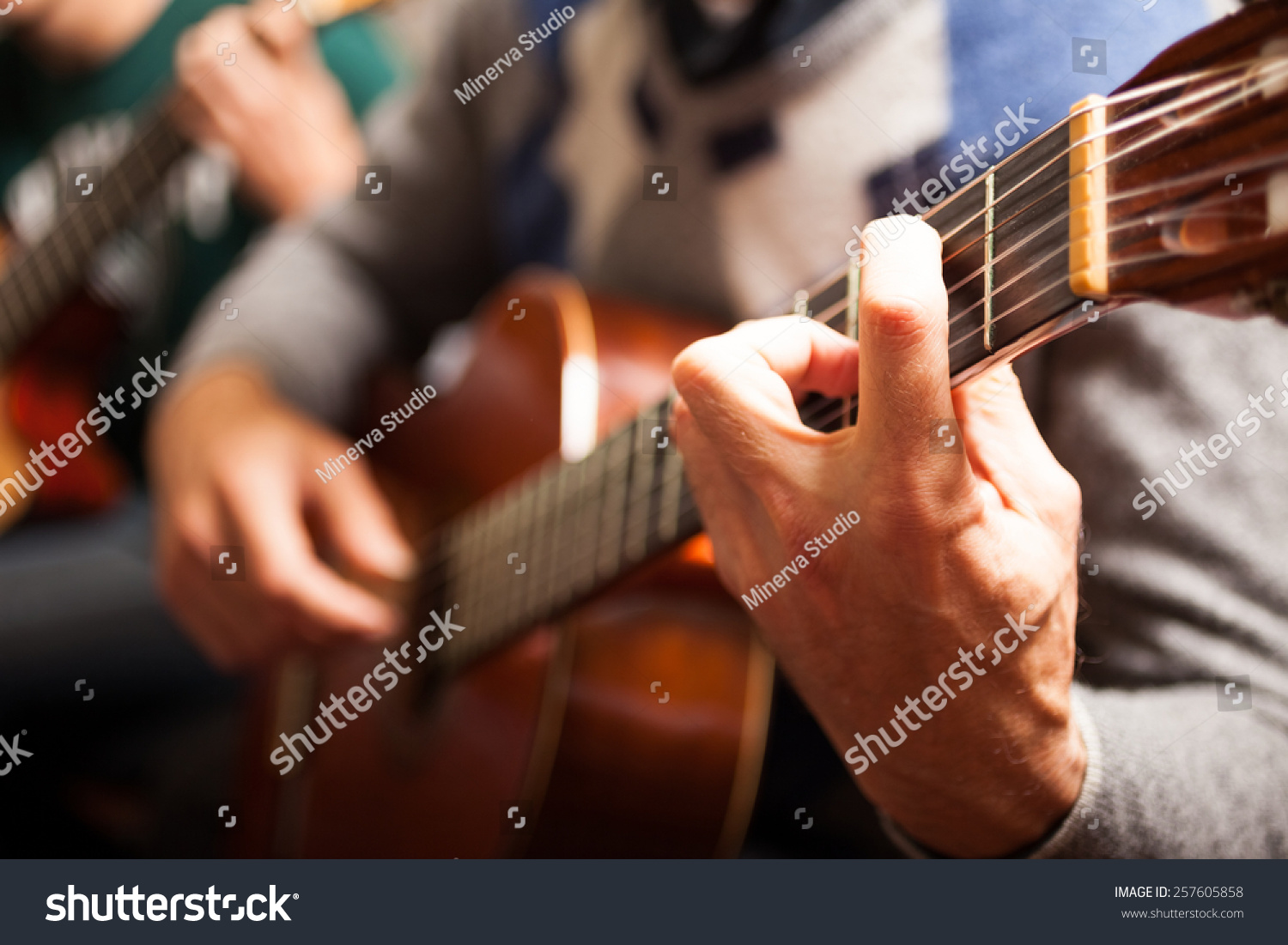 detail of a classical guitar player stock photo 257605858 shutterstock. Black Bedroom Furniture Sets. Home Design Ideas