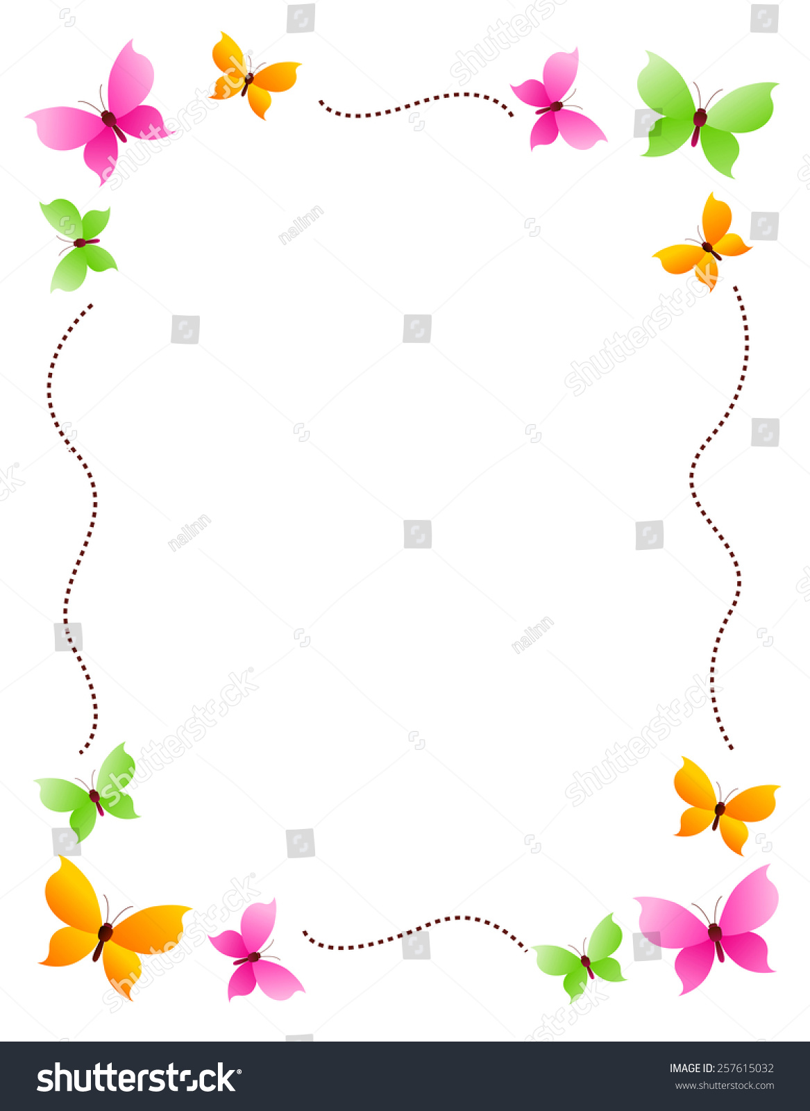 butterfly frame with colorful butterflies on four corners