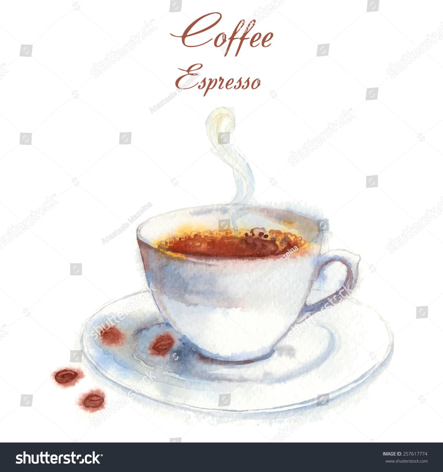 Hand drawn vector watercolorstyle espresso coffee stock for Coffee watercolor