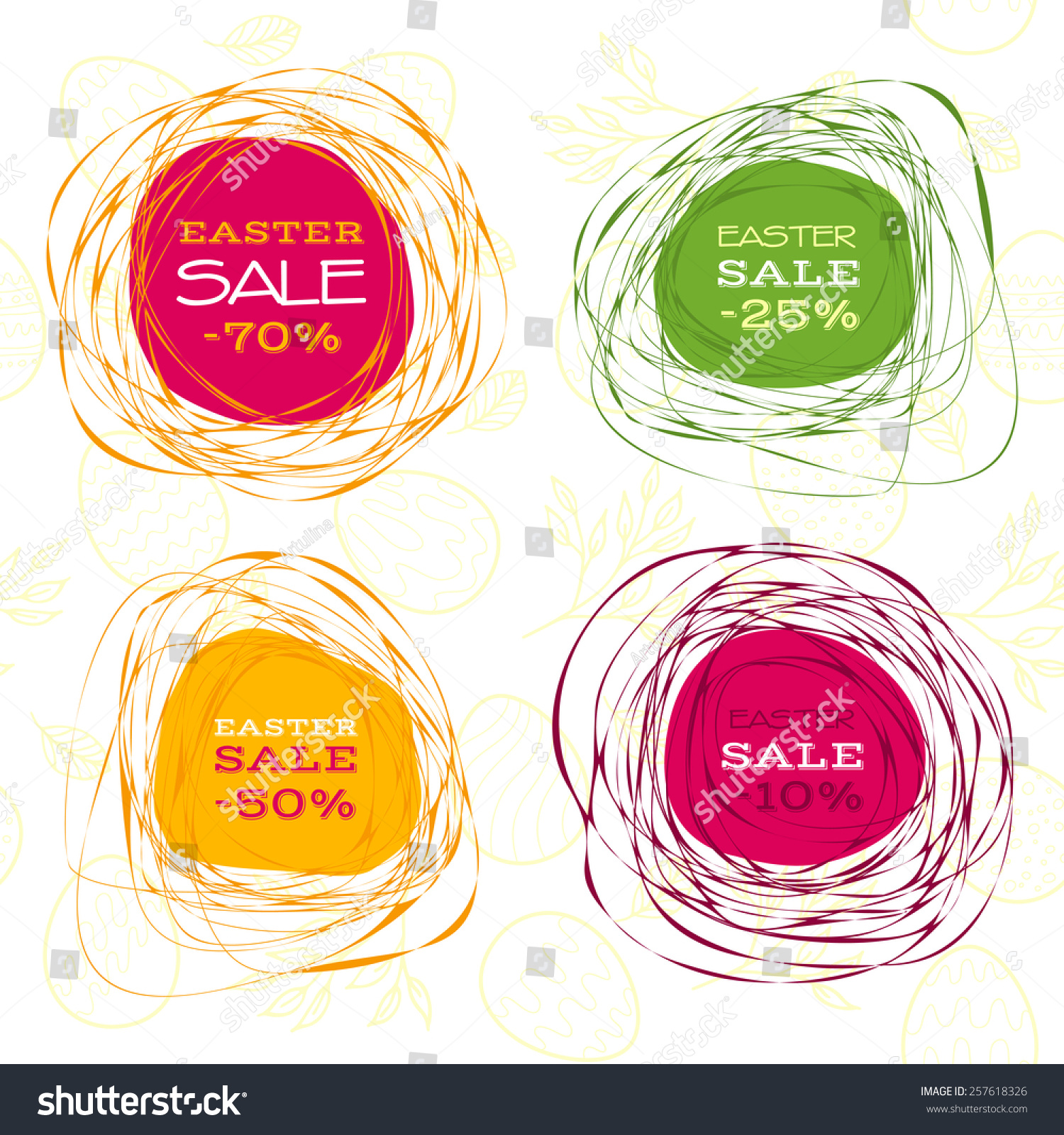 set of easter sale vector abstract frames - Easter Picture Frames