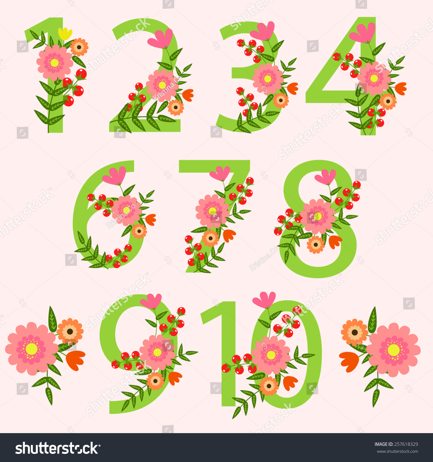Wedding Floral Number Wedding Clipart Wedding Stock Vector HD ...
