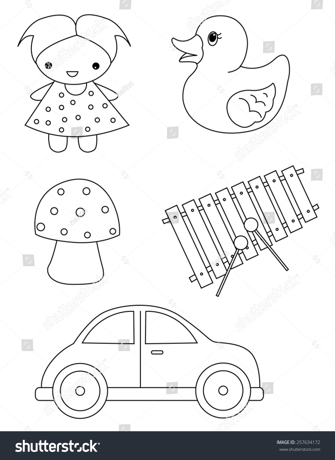 pre kids coloring book page stock vector 257634172