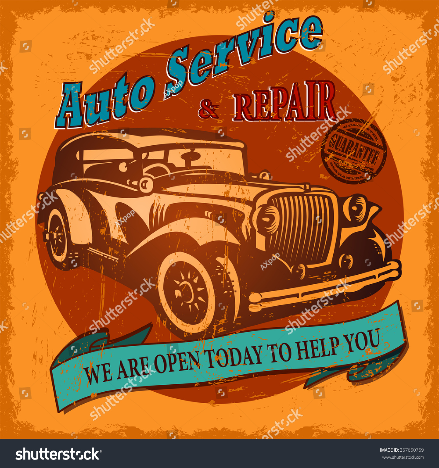 Vintage Auto Service Retro Poster Stock Illustration 257650759 ...