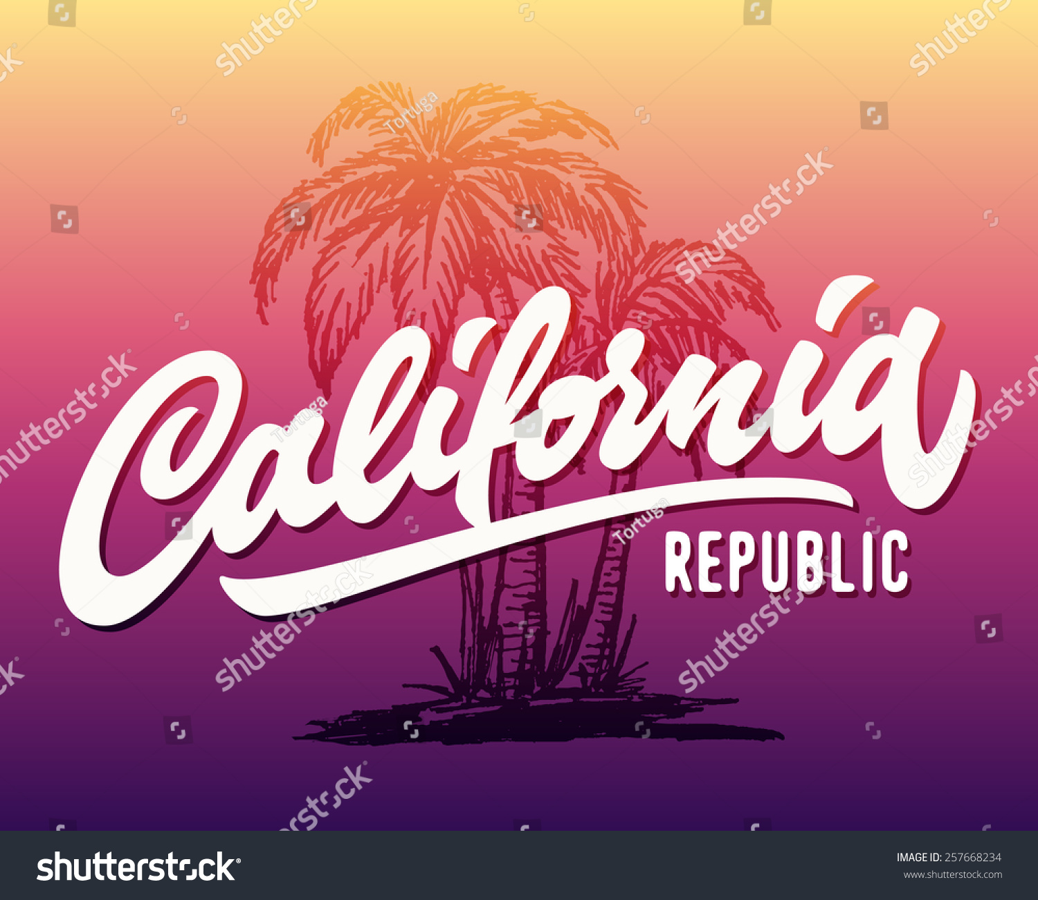 Hand Lettered California Republic Apparel T Stock Vector