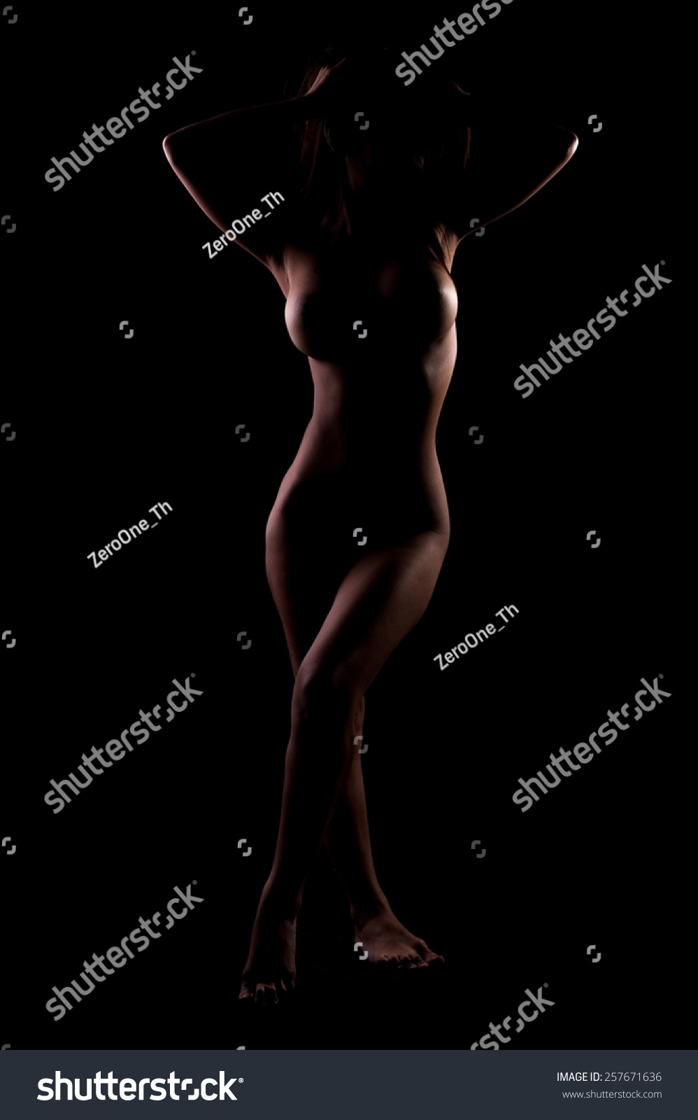 Asian Nude Fitness Woman Sexy Erotic Stock Photo 257671636 ...