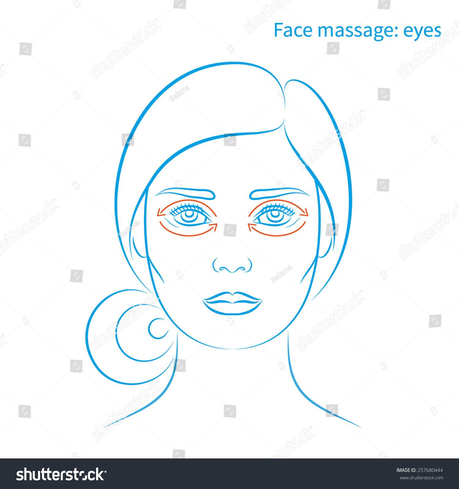 Vector Illustration Face Massage Instruction Eyes Stock-Vektorgrafik ...