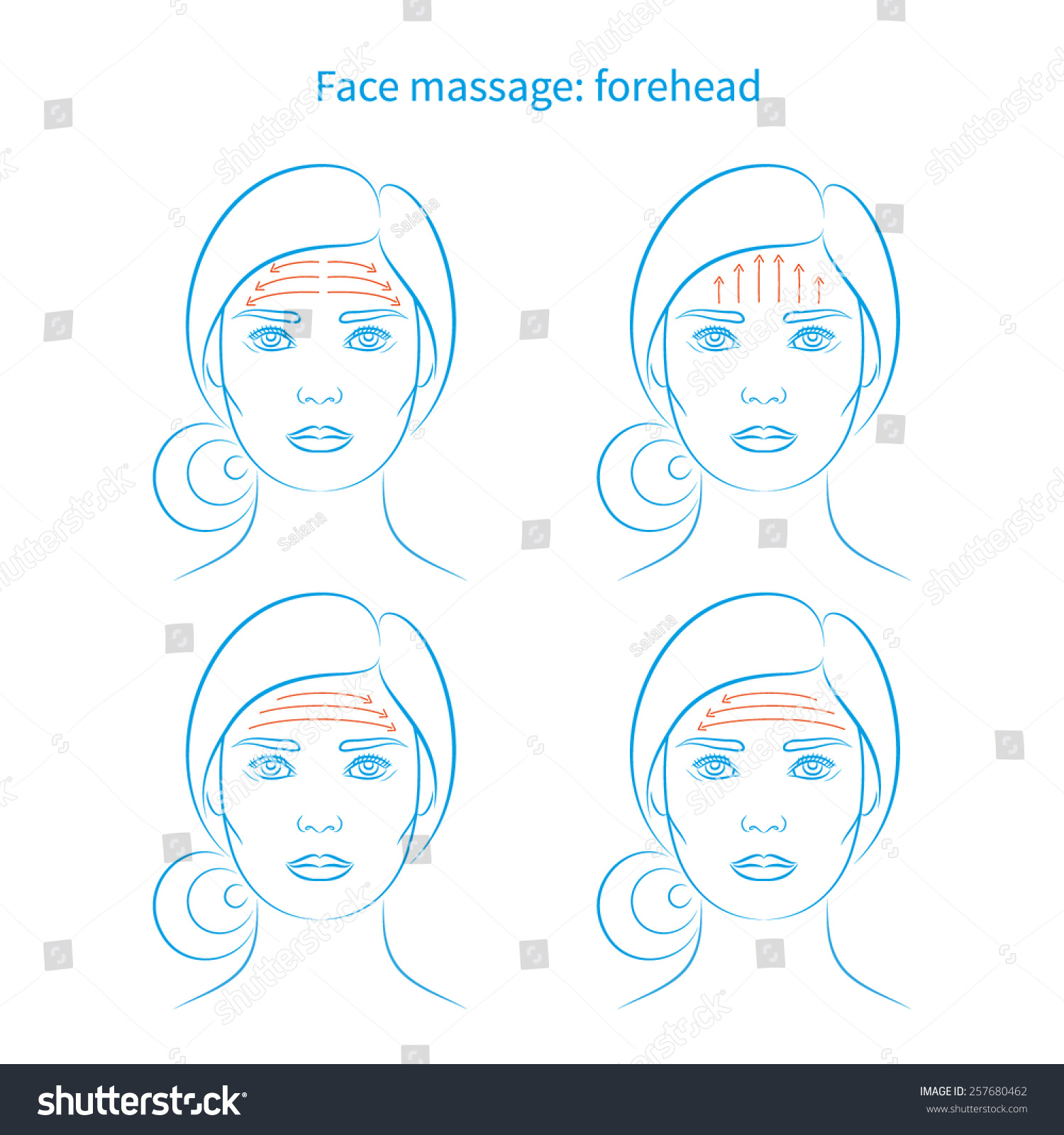 Royalty Free Vector Illustration Set Of Four Face 257680462 Stock