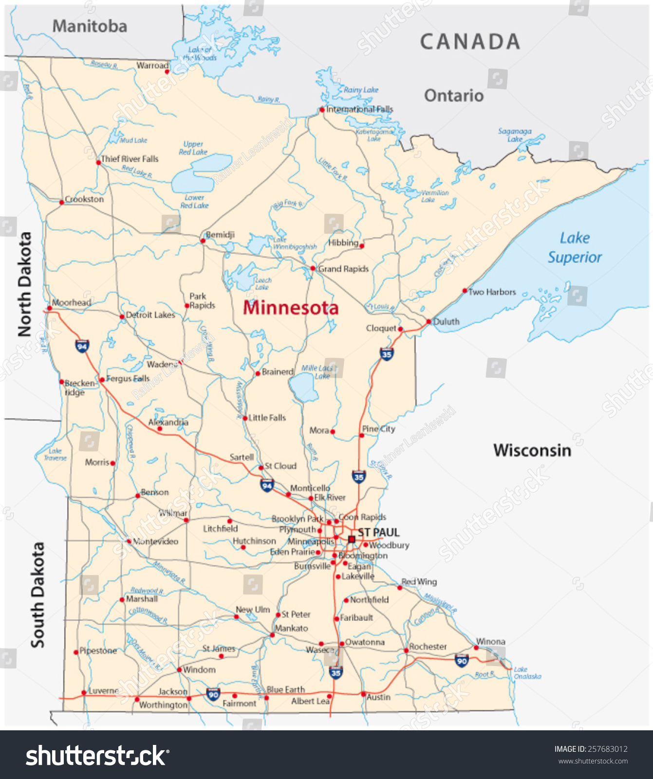 Minnesota Road Map Stock Vector (Royalty Free) 257683012