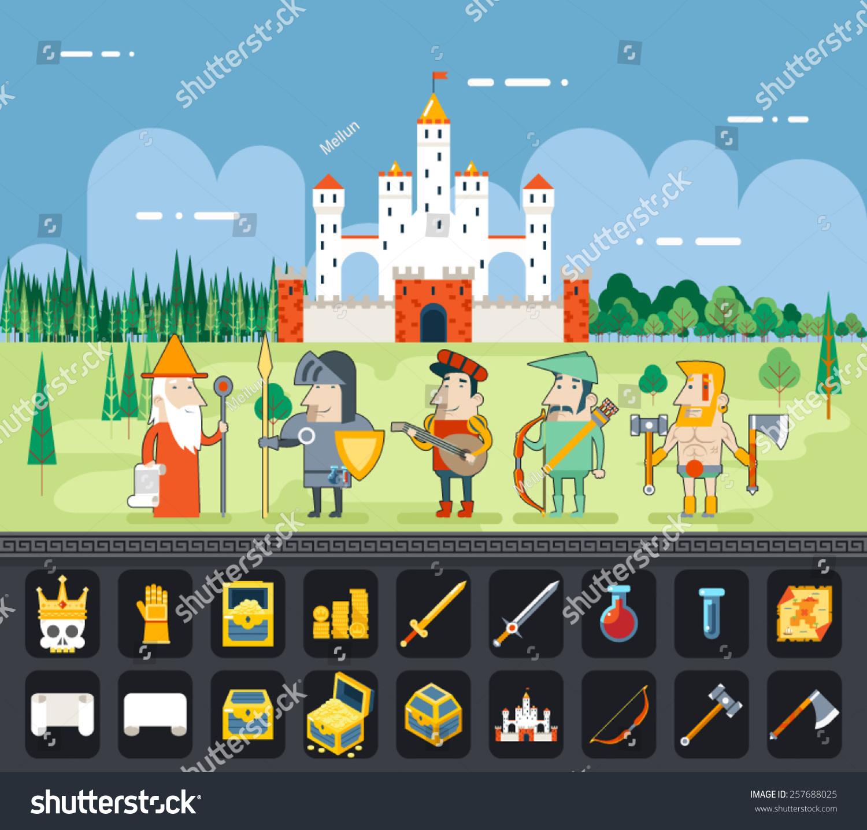 士角色平面设计卡通城堡魔法妖精的尾巴图标景观背景模板向量