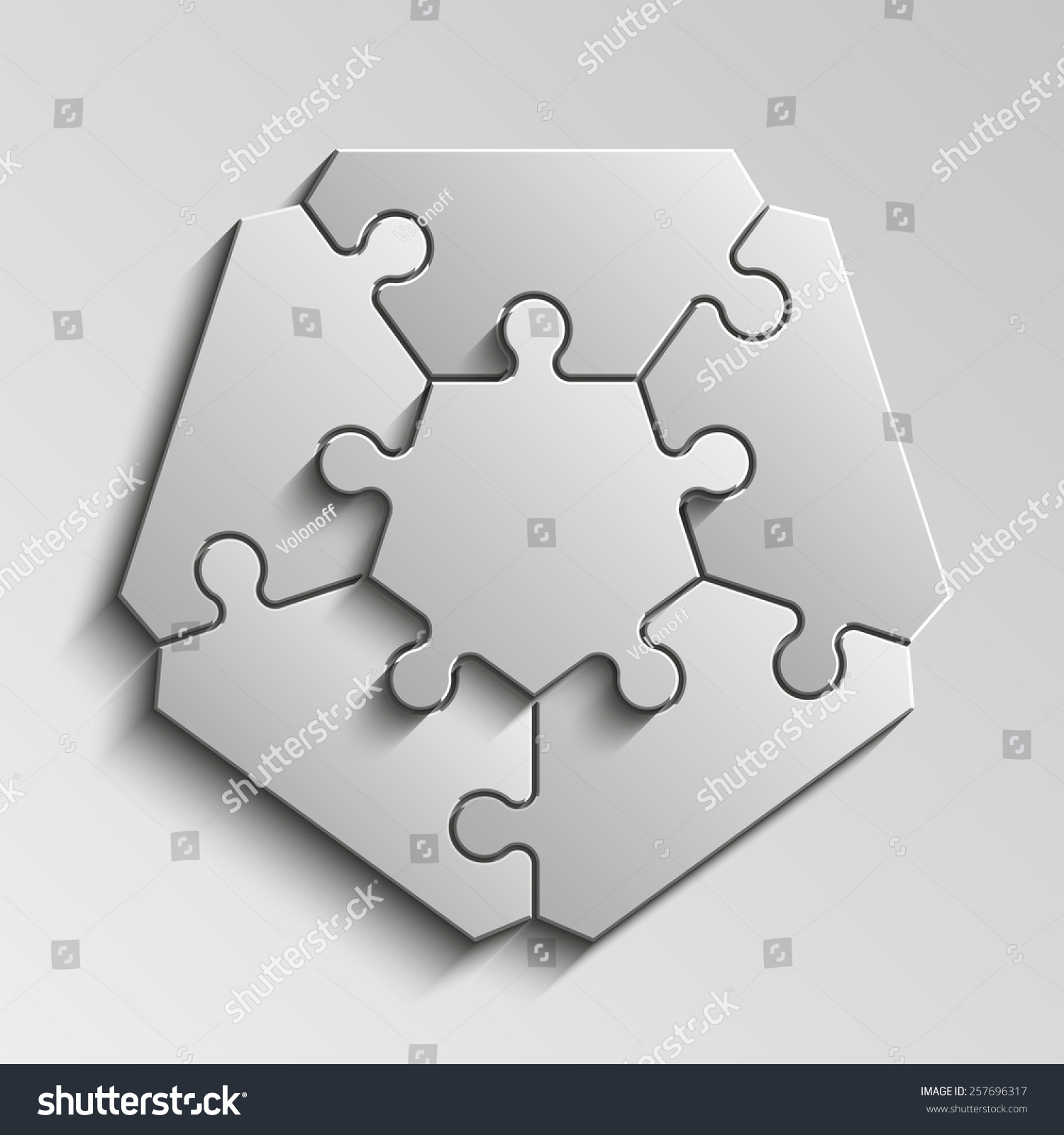 Fivepointed Figure Piece Flat Puzzle Round Stock Illustration ...