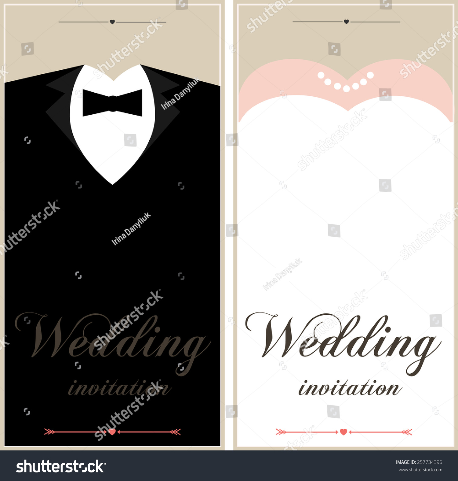 Beautiful Wedding Invitation Cards Place Text Stock Vector 257734396 ...